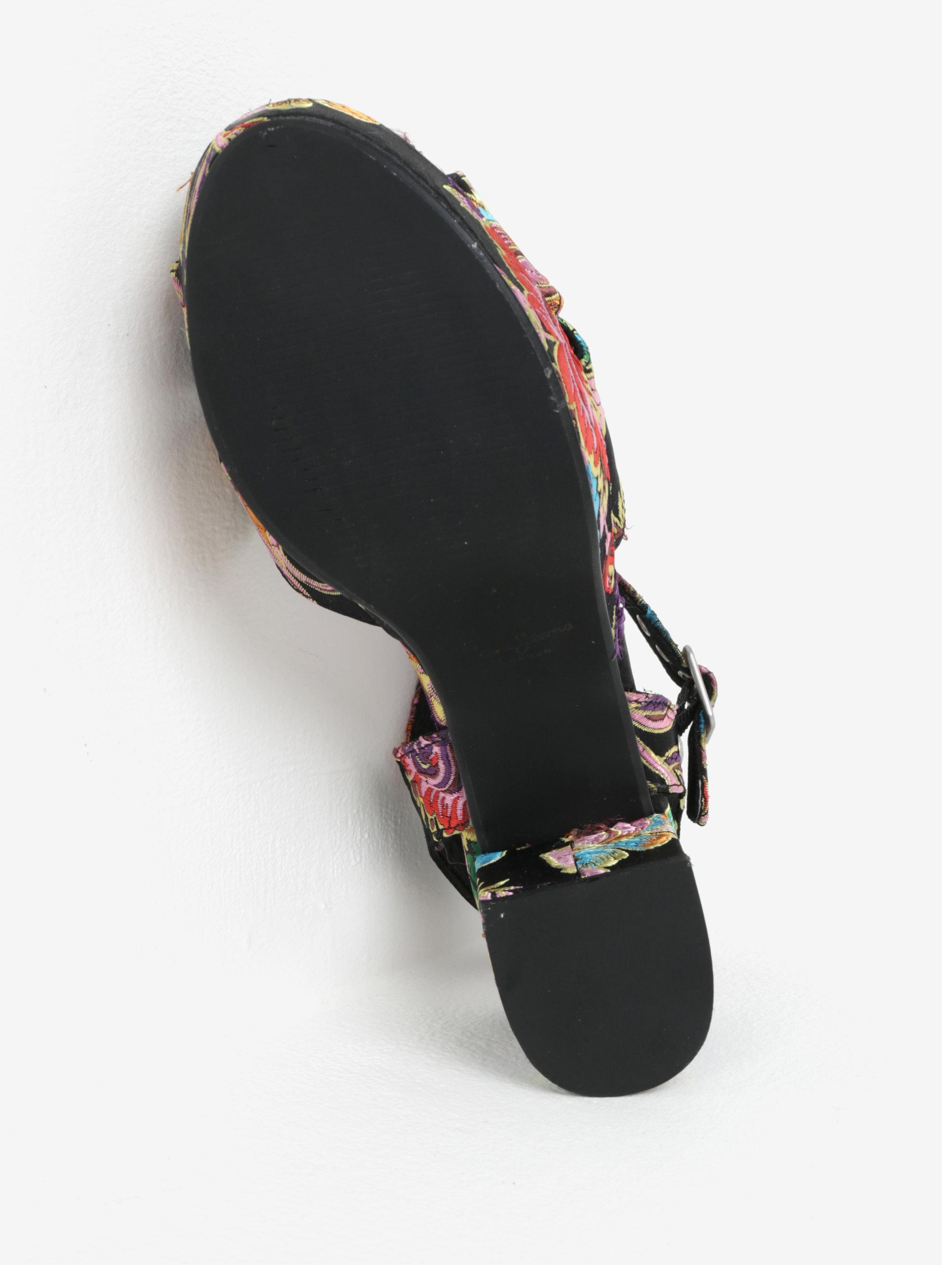 14ca54fc612 Čierne dámske vzorované sandále na podpätku a platforme Pepe Jeans Hooper  Spring ...