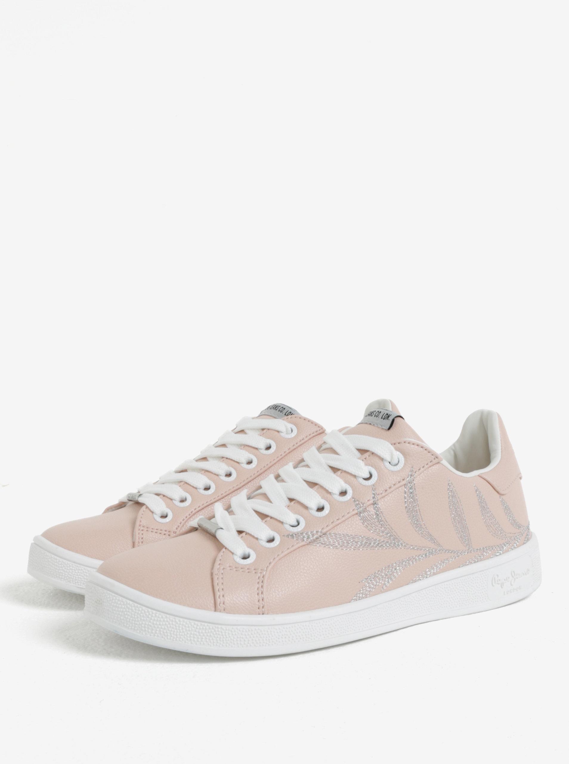 195ed52c65338 Bielo-ružové dámske tenisky Pepe Jeans Brompton Embroidery   ZOOT.sk