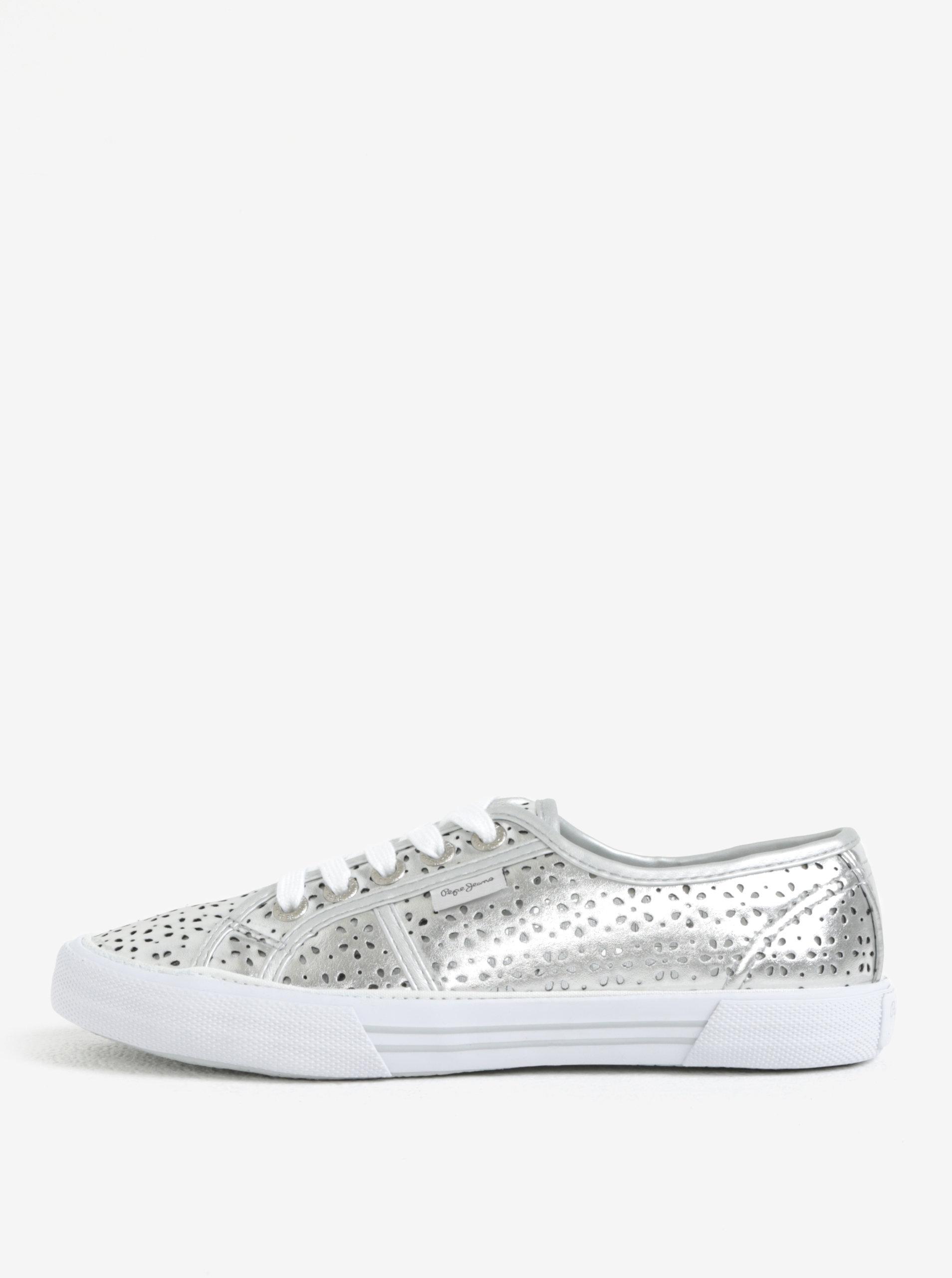 Dámské perforované tenisky ve stříbrné barvě Pepe Jeans Aberlady daisy ... 6ba207ea88