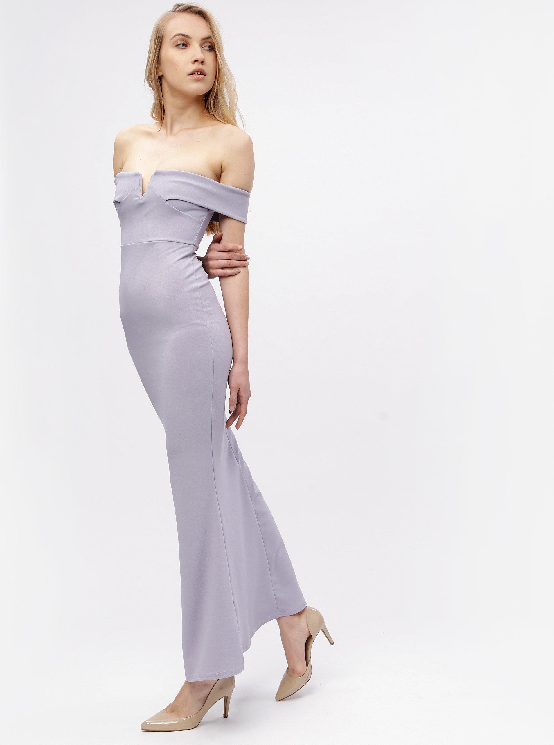 Světle fialové dlouhé šaty s odhalenými rameny MISSGUIDED ... 3f5b49fcfc