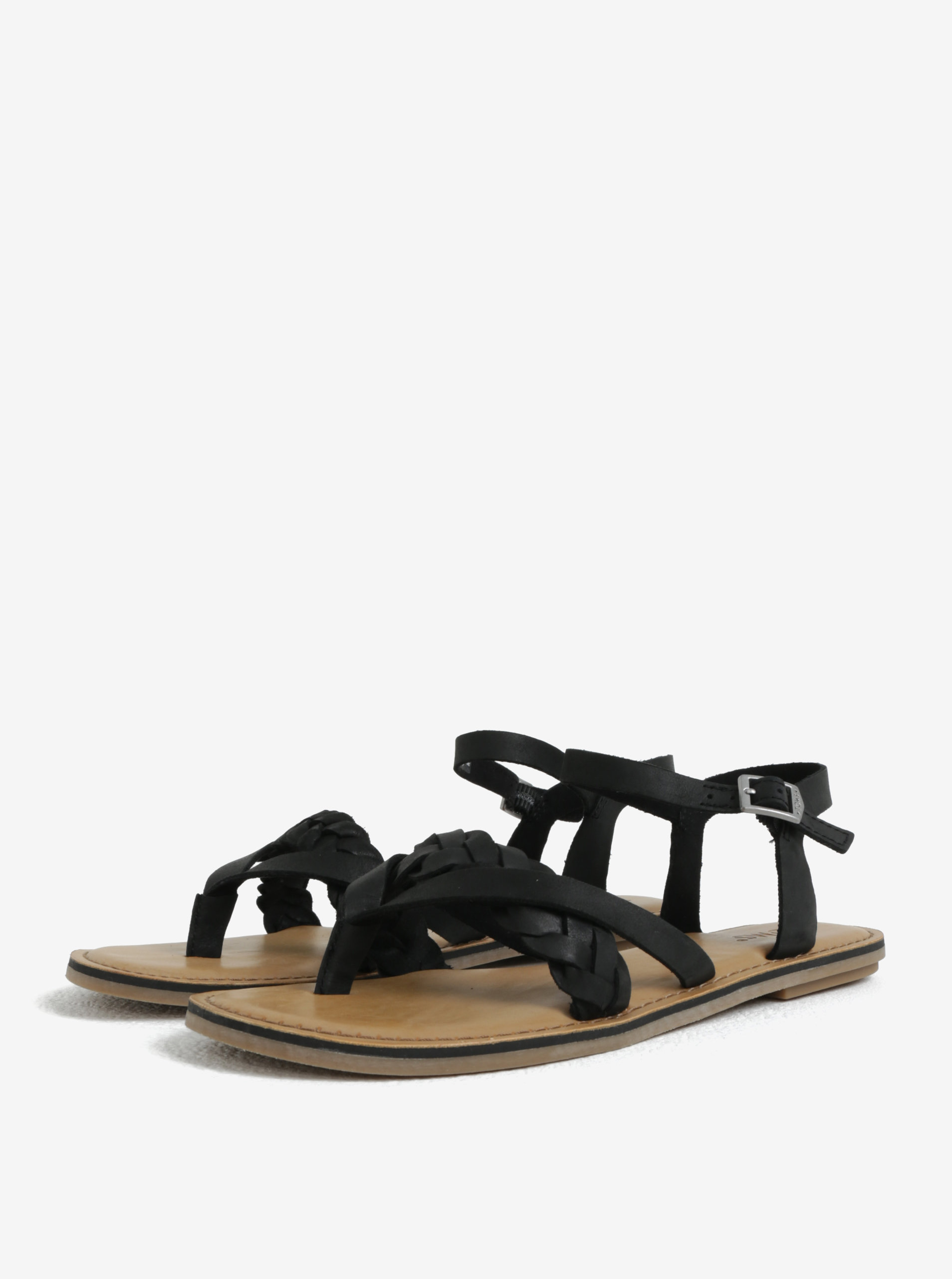 Černé dámské kožené sandály TOMS Lexie ... b650b765fb