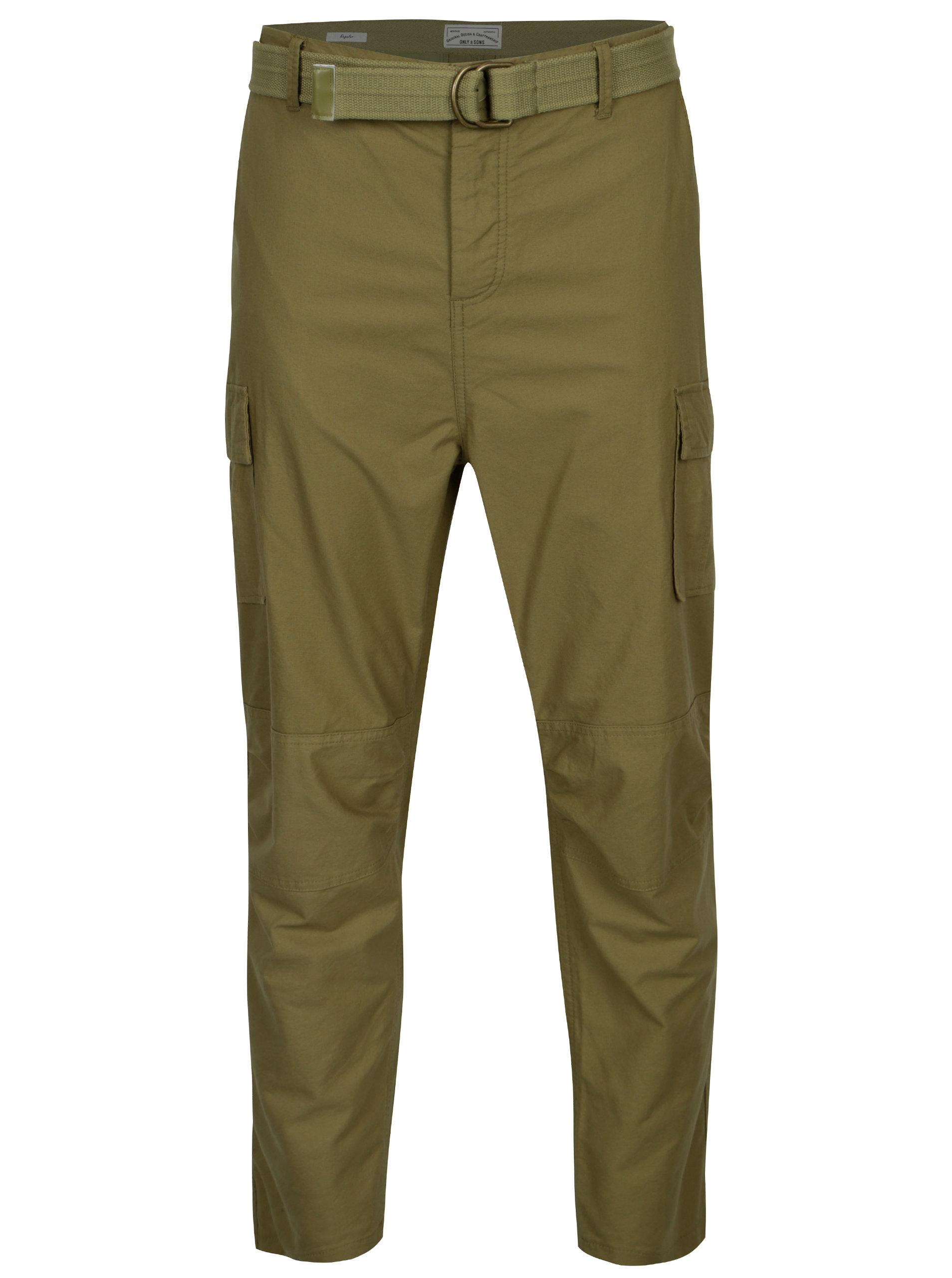 Khaki regular kalhoty s kapsami a páskem ONLY & SONS Nadir