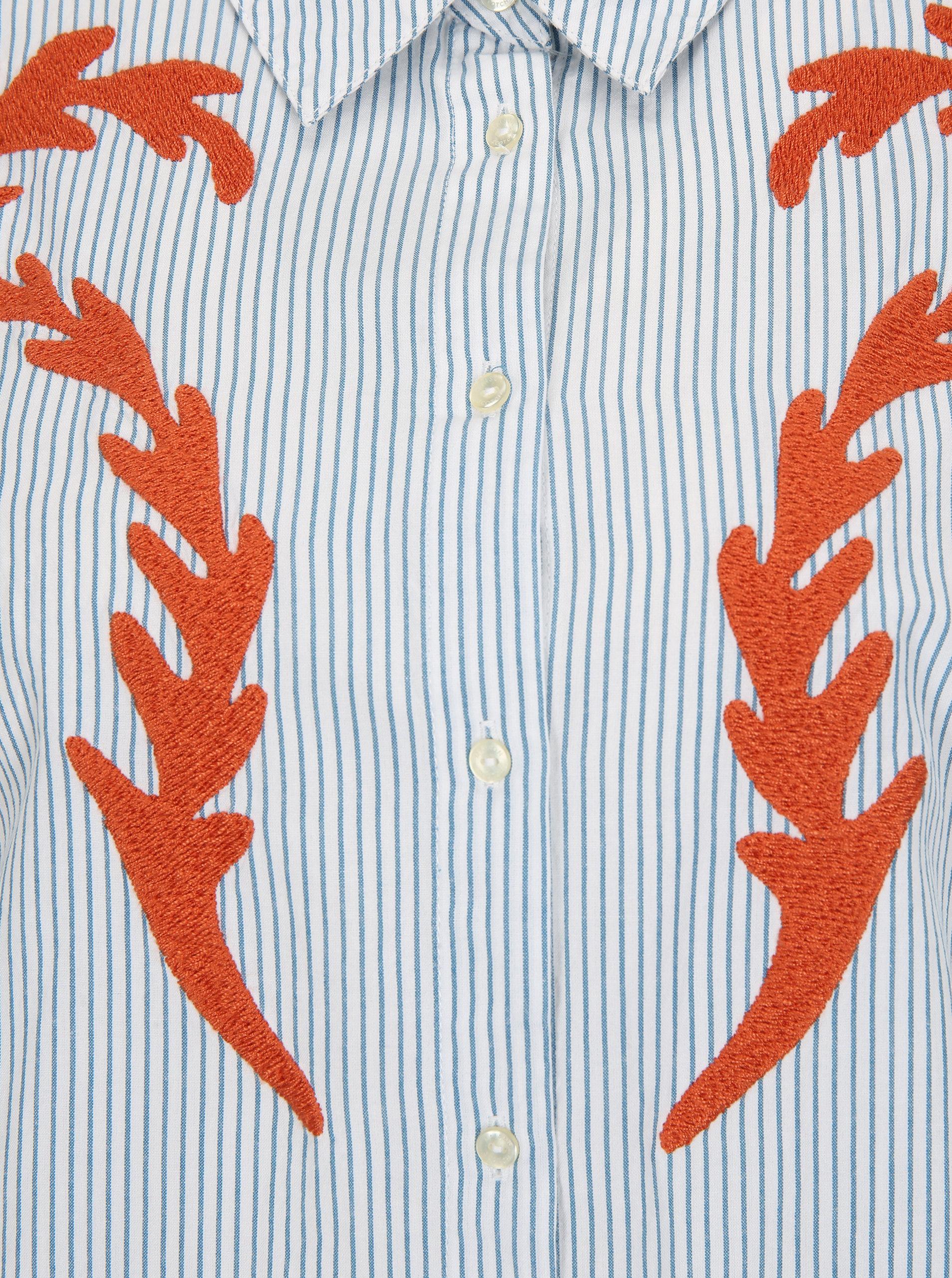 aa390fe50063 Modro-krémová pruhovaná košeľa s výšivkou Scotch   Soda ...
