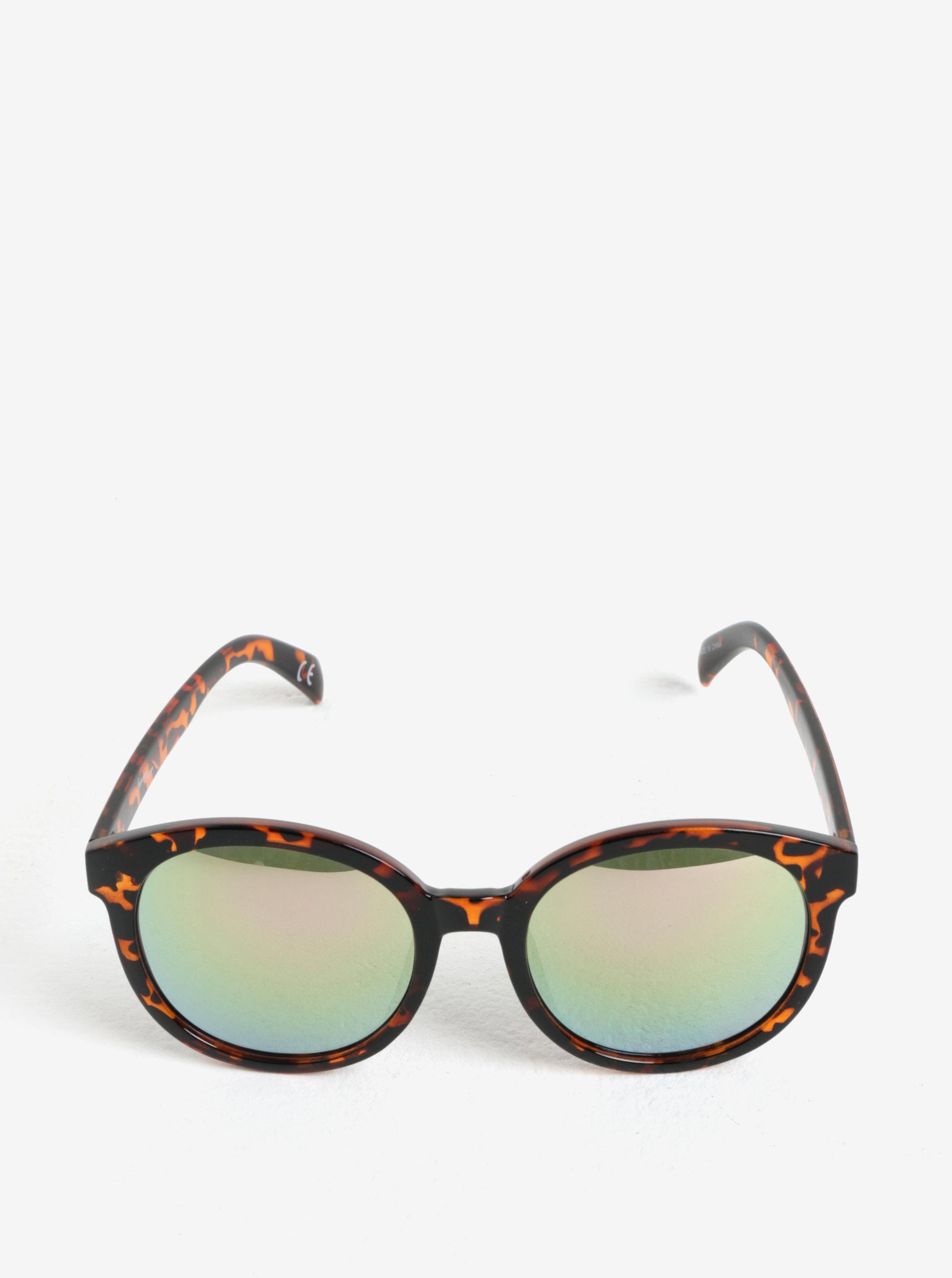 Čierno-hnedé dámske vzorované okrúhle slnečné okuliare Jeepers Peepers ... 5fa2f1cd4b3