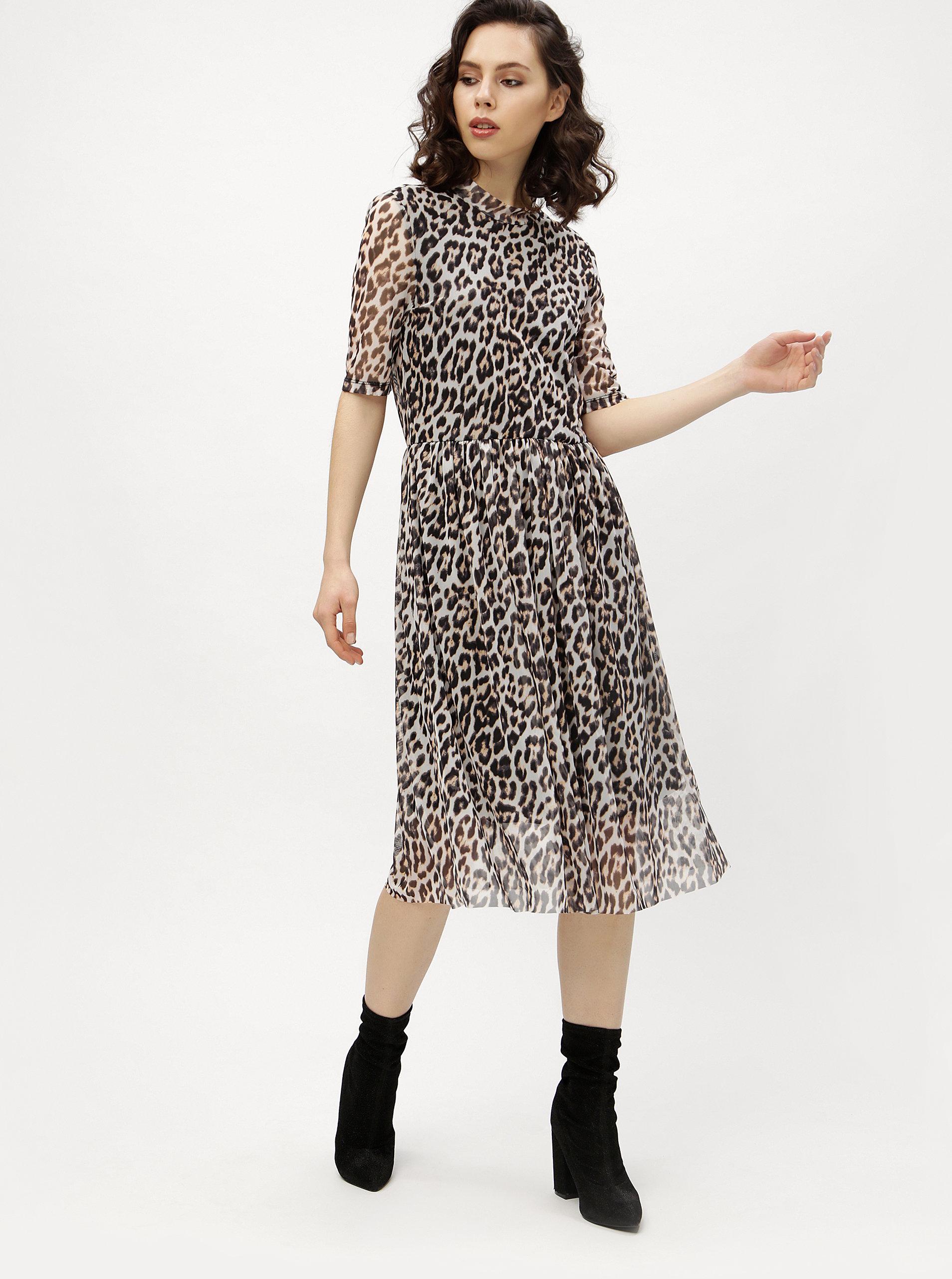bd34cf778669 Čierno-sivé leopardie šaty VERO MODA Tina ...
