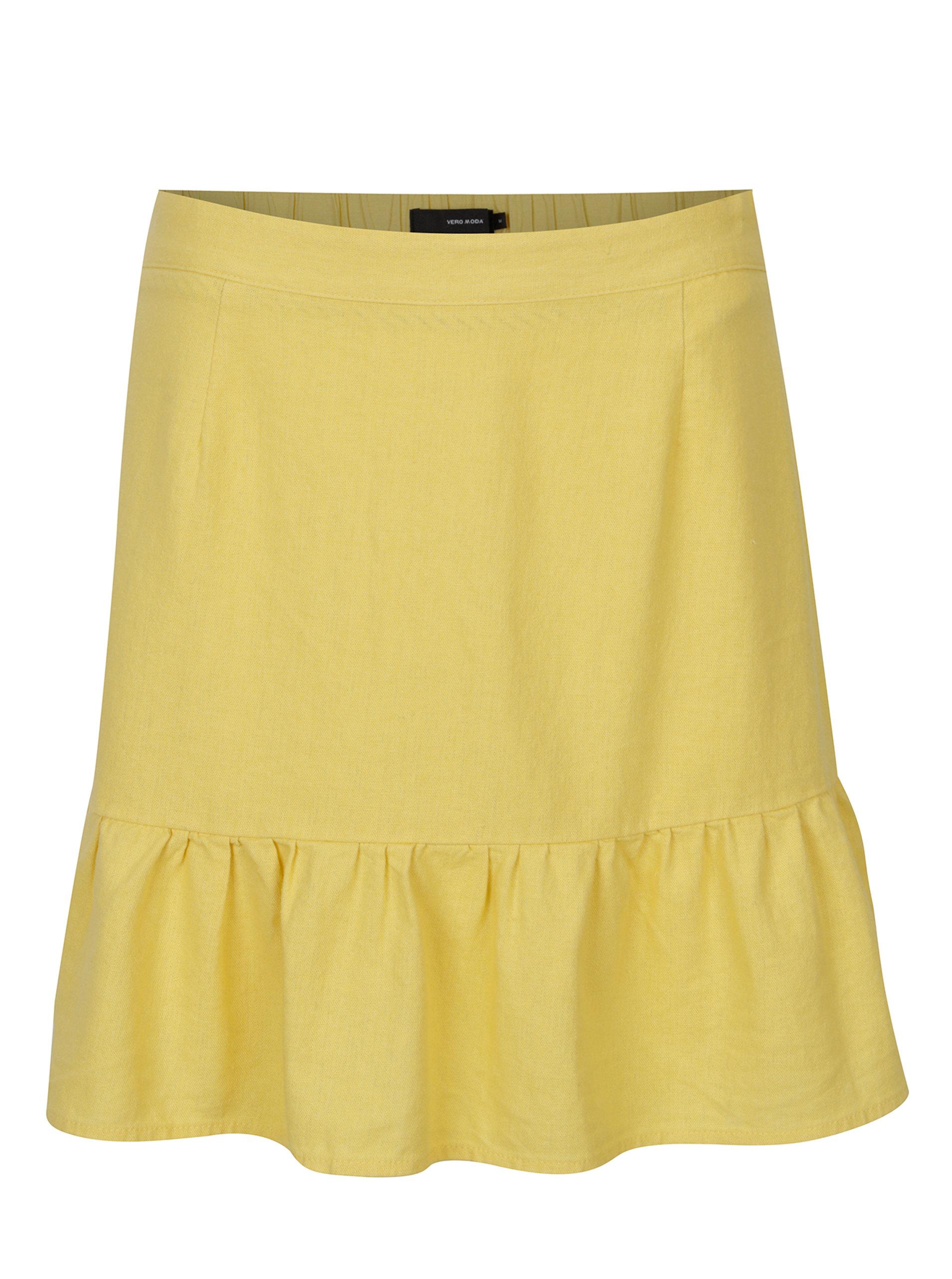 1246f597e5f0 Žltá ľanová sukňa VERO MODA Asta ...