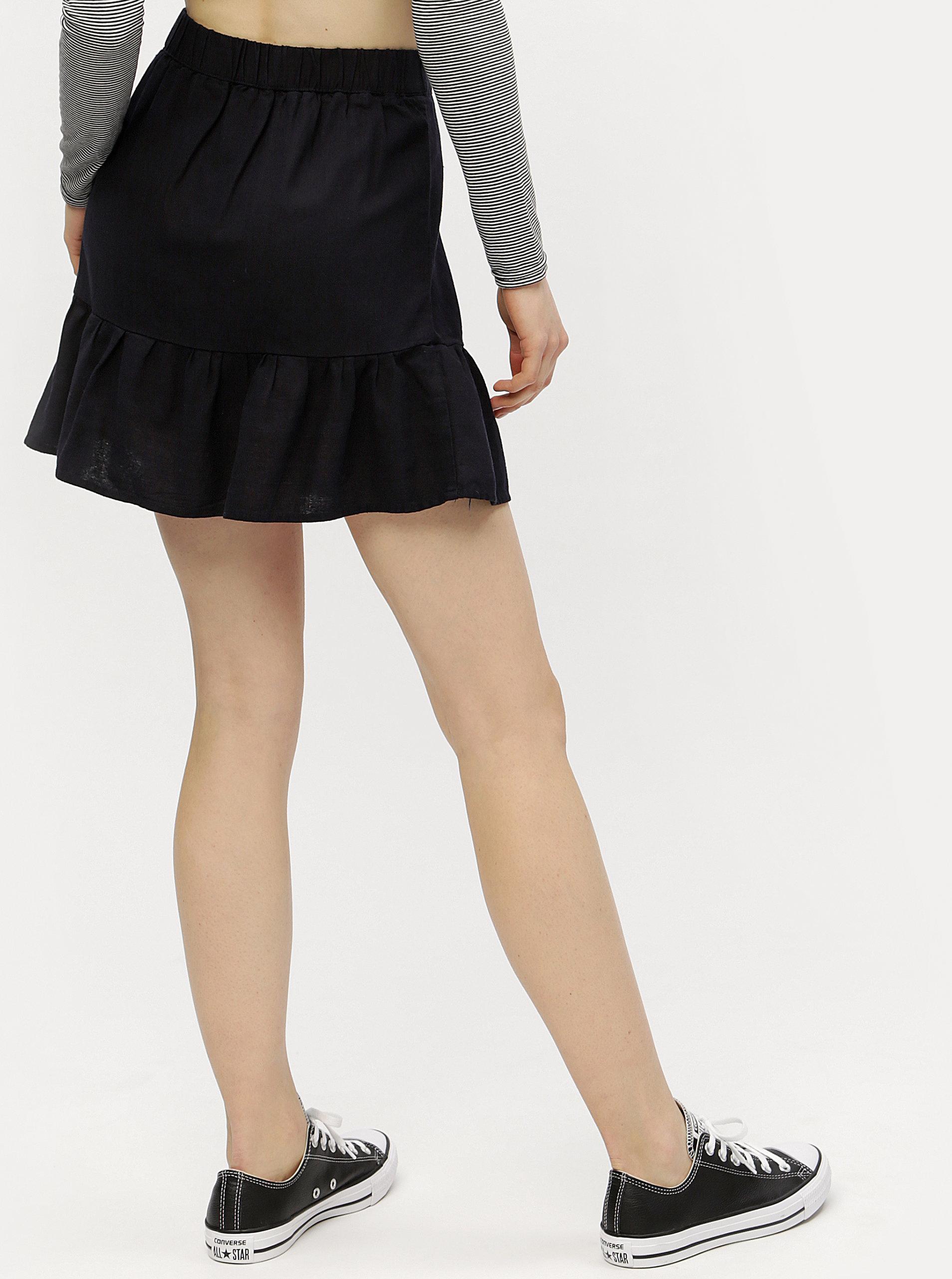 4aa2abd52a47 Tmavomodrá ľanová sukňa VERO MODA Asta ...