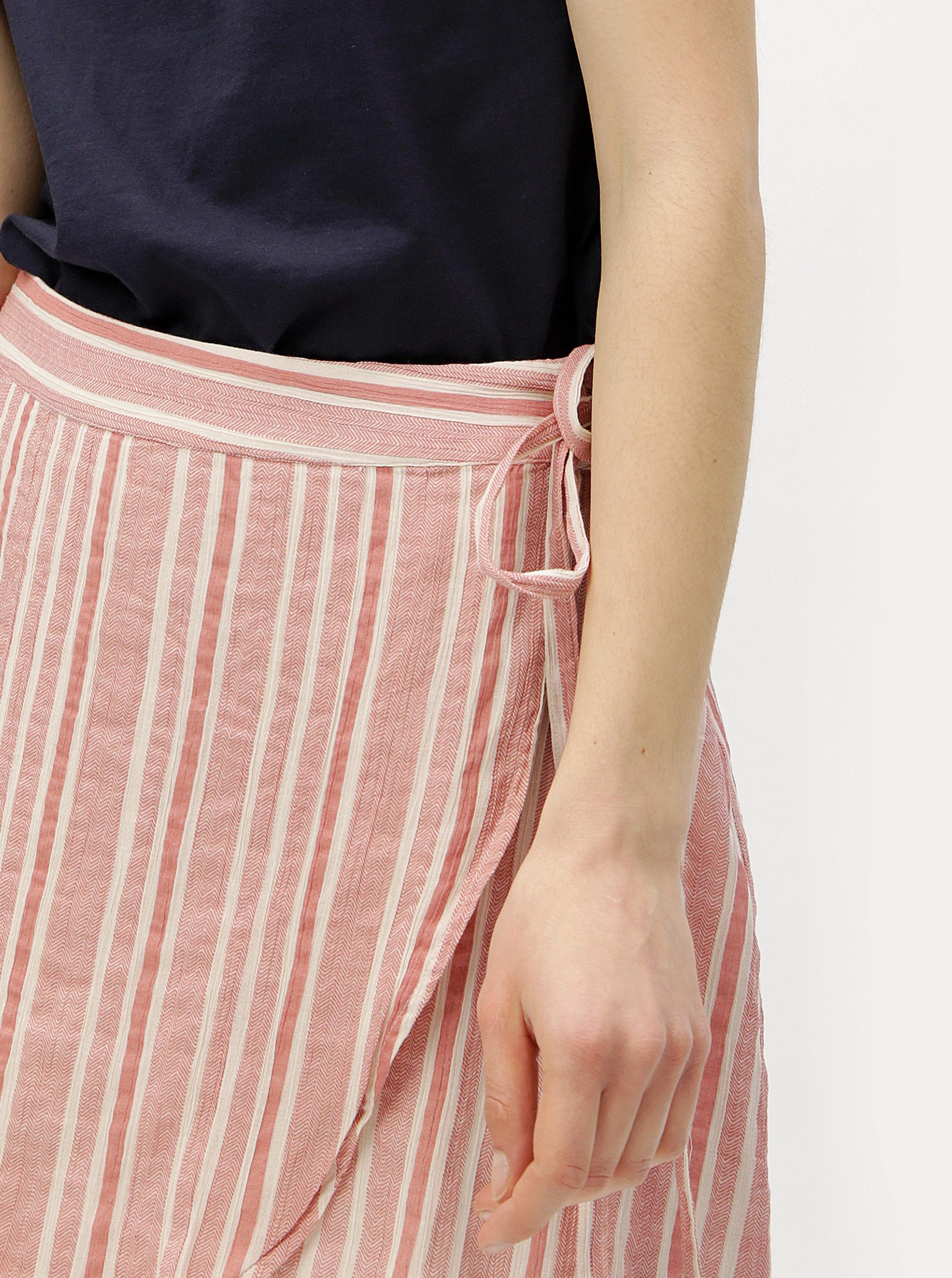 733f4abb6b23 Starorůžová zavinovací pruhovaná sukně VERO MODA Summer ...