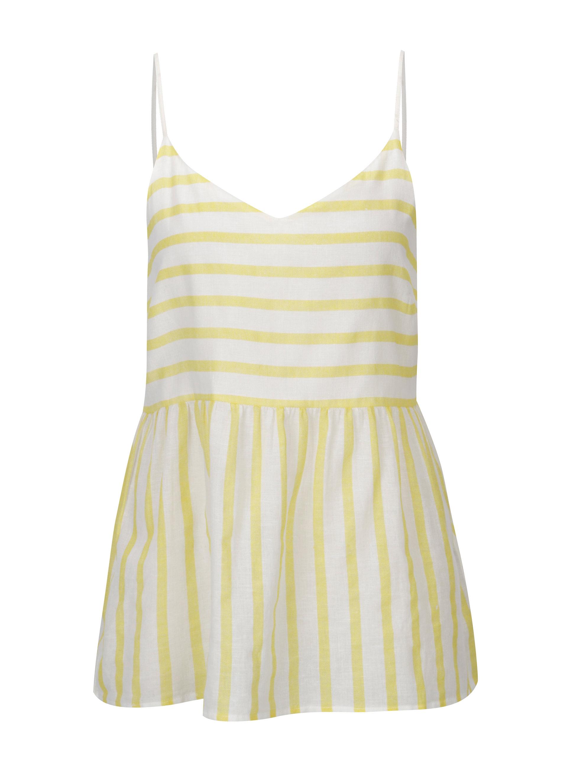 679b0e284c6 Bílo-žluté pruhované tílko VERO MODA Sunny ...