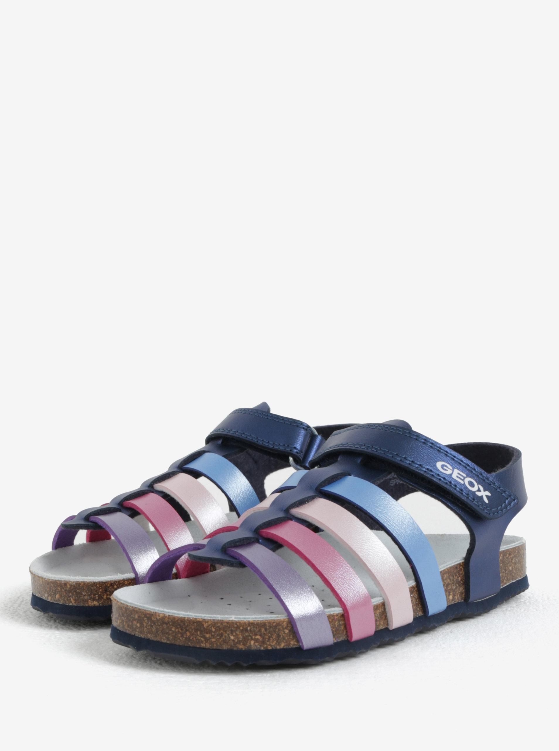 83c72134ddd3 Tmavomodré dievčenské kožené sandále Geox ...