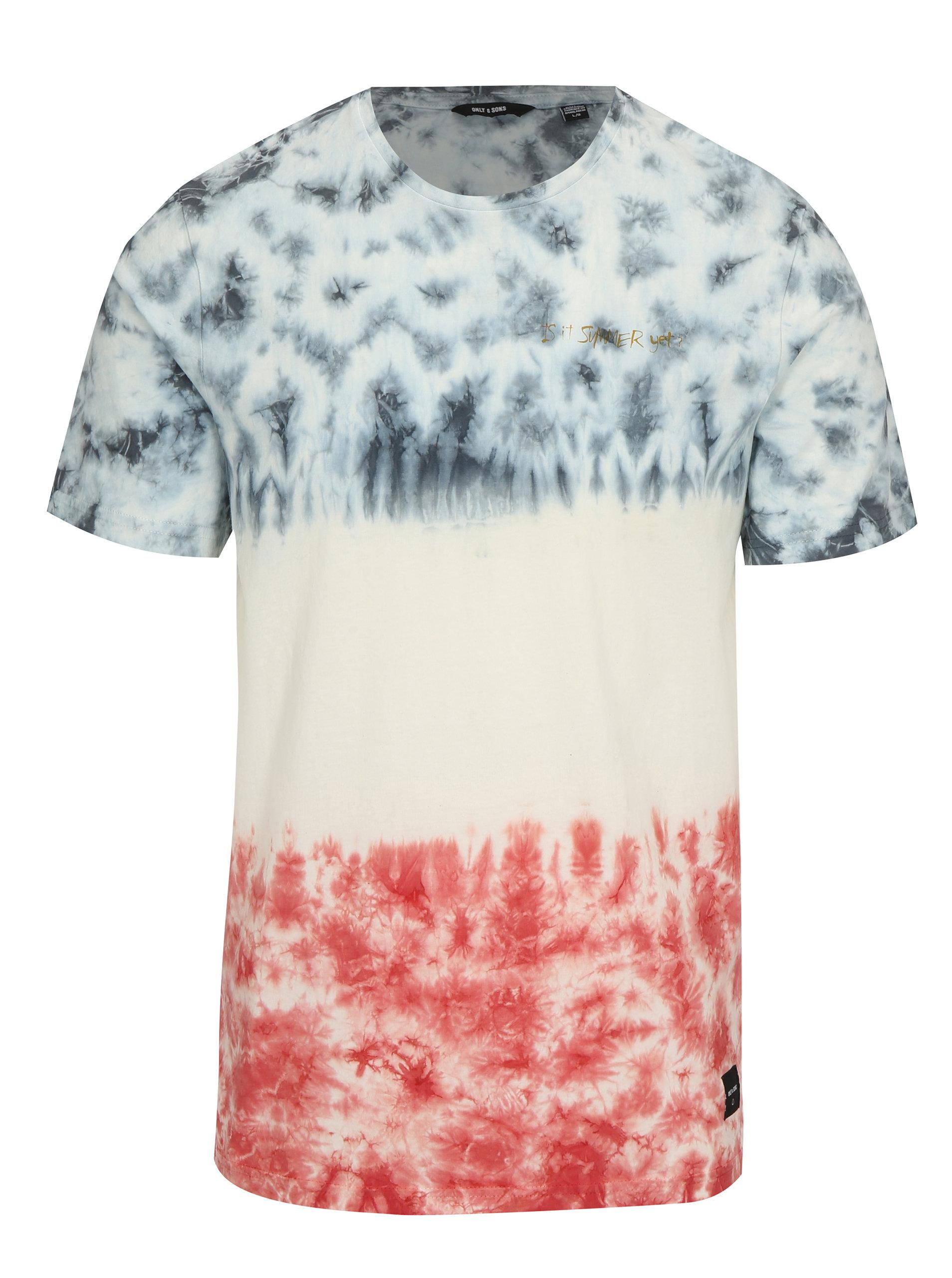 a959abeec75a Bílé vzorované tričko ONLY   SONS Tye ...