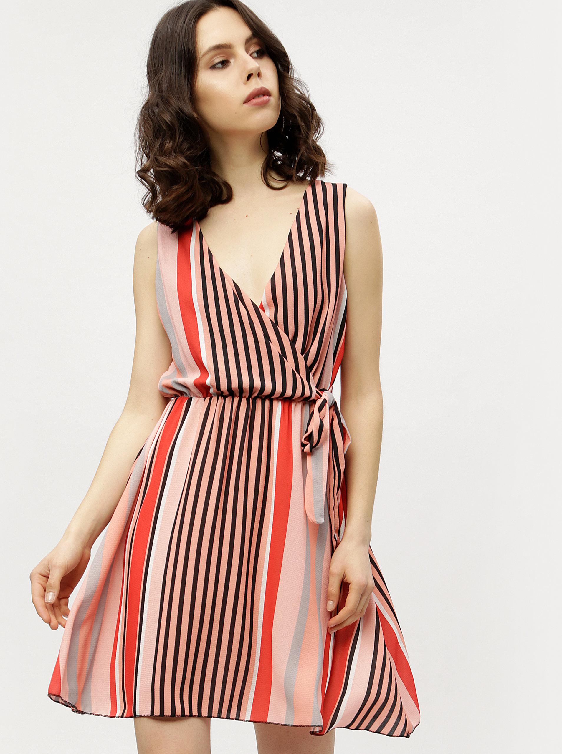 e8b917fce Marhuľové pruhované šaty s prekladaným výstrihom Haily's Laura | ZOOT.sk