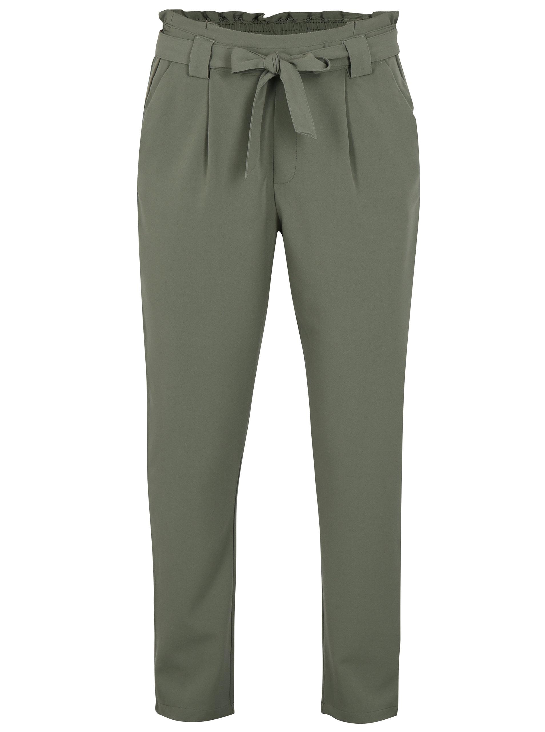131bfb3fa416 Olivově zelené kalhoty s vysokým pasem Jacqueline de Yong Dakota ...