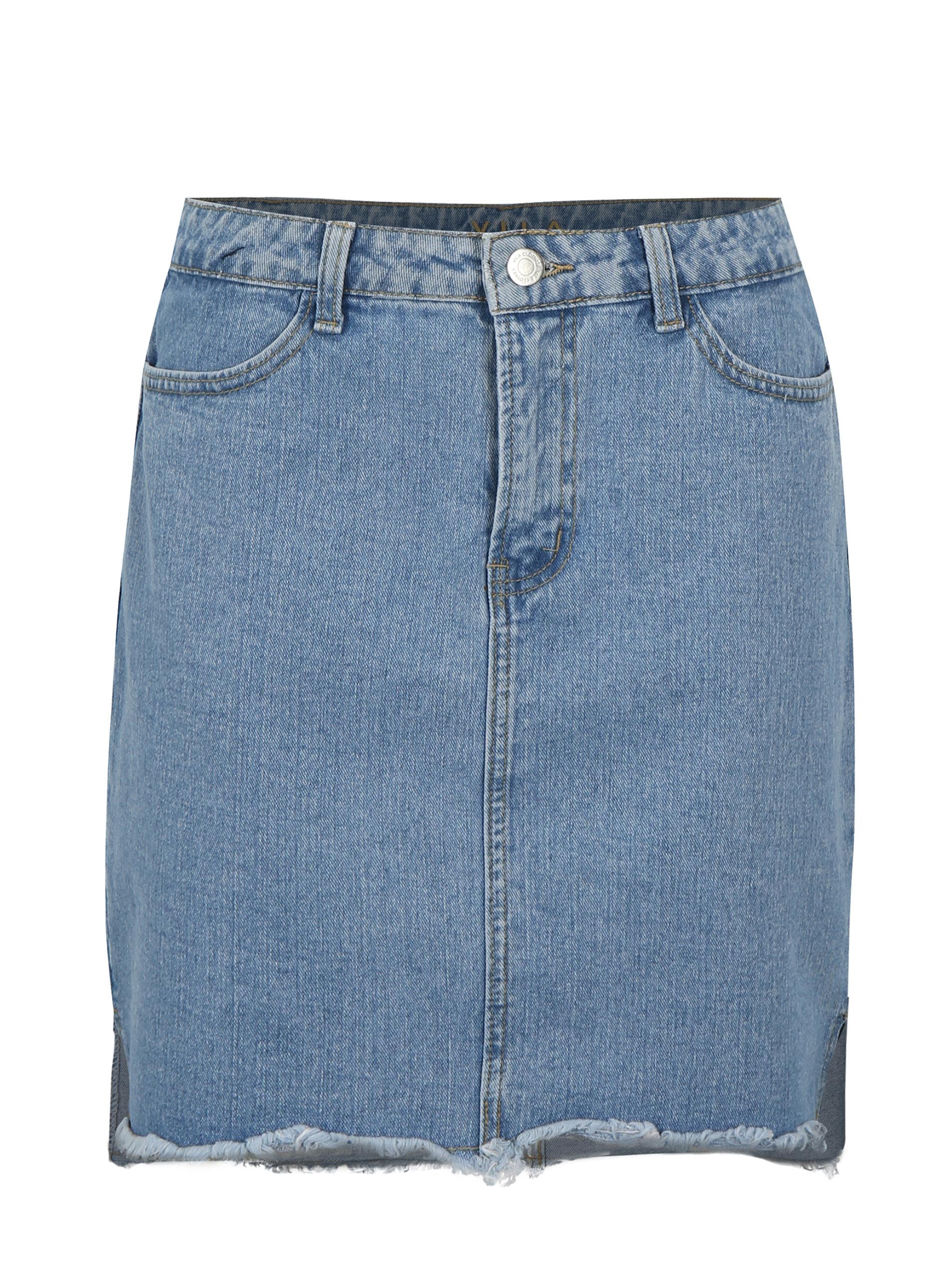 Světle modrá džínová sukně s roztřepenými lemy VILA Jules ... 45dd89a8d5