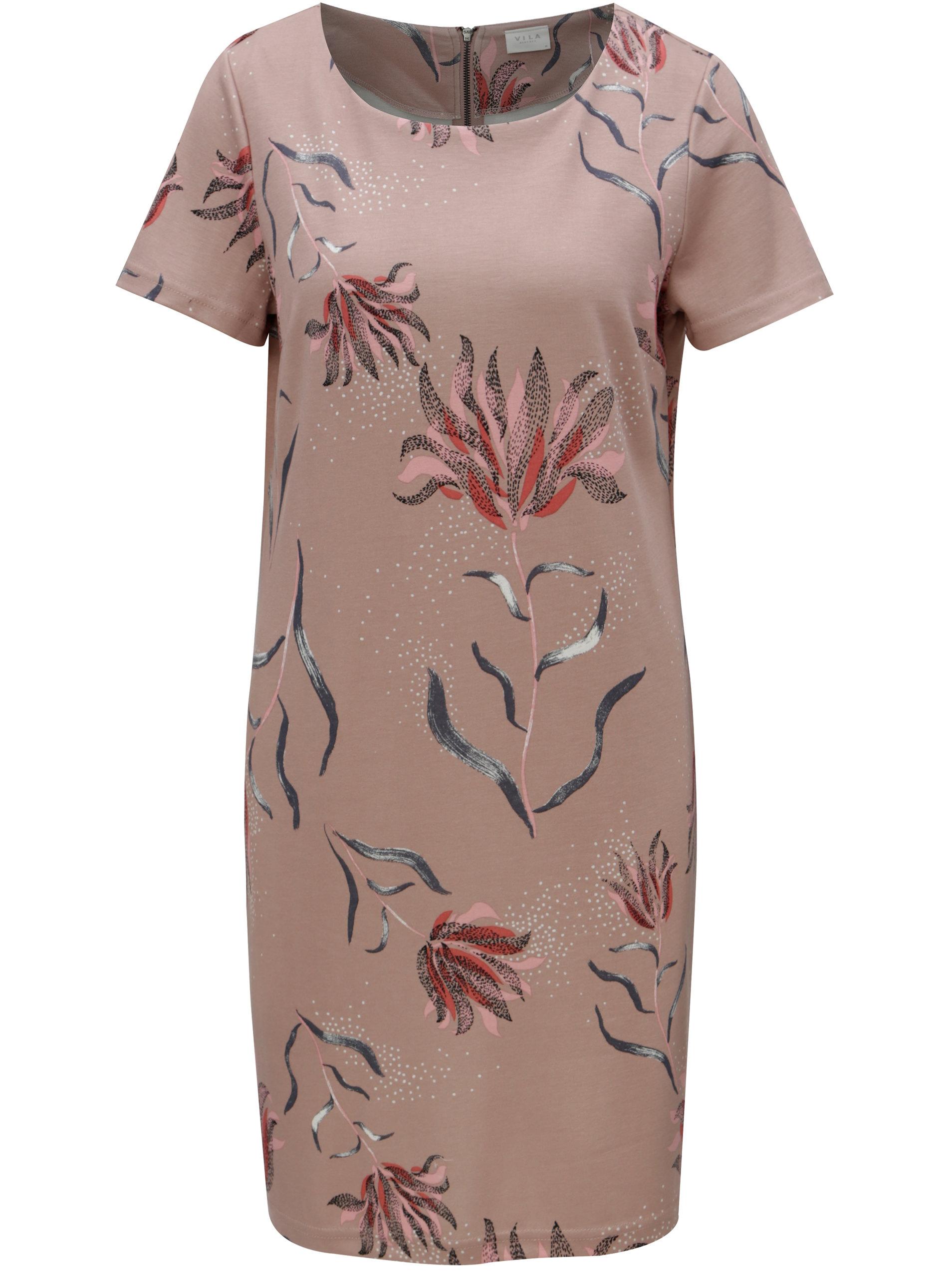 7c23456c7a7d Starorůžové kětované šaty s krátkým rukávem VILA Tinny ...