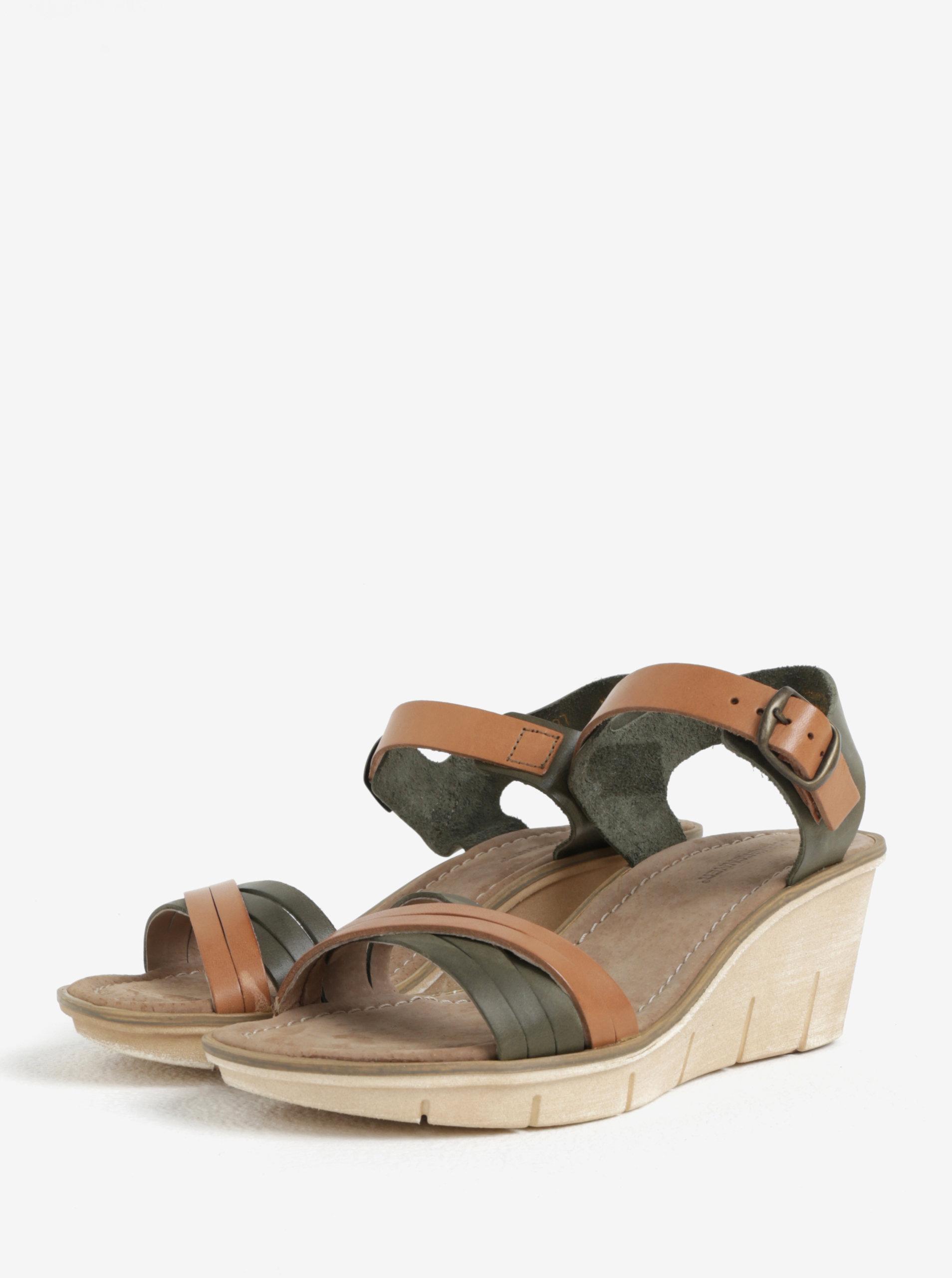 9ff8f2657e3e Hnedo-zelené dámske kožené sandálky na platforme Weinbrenner ...