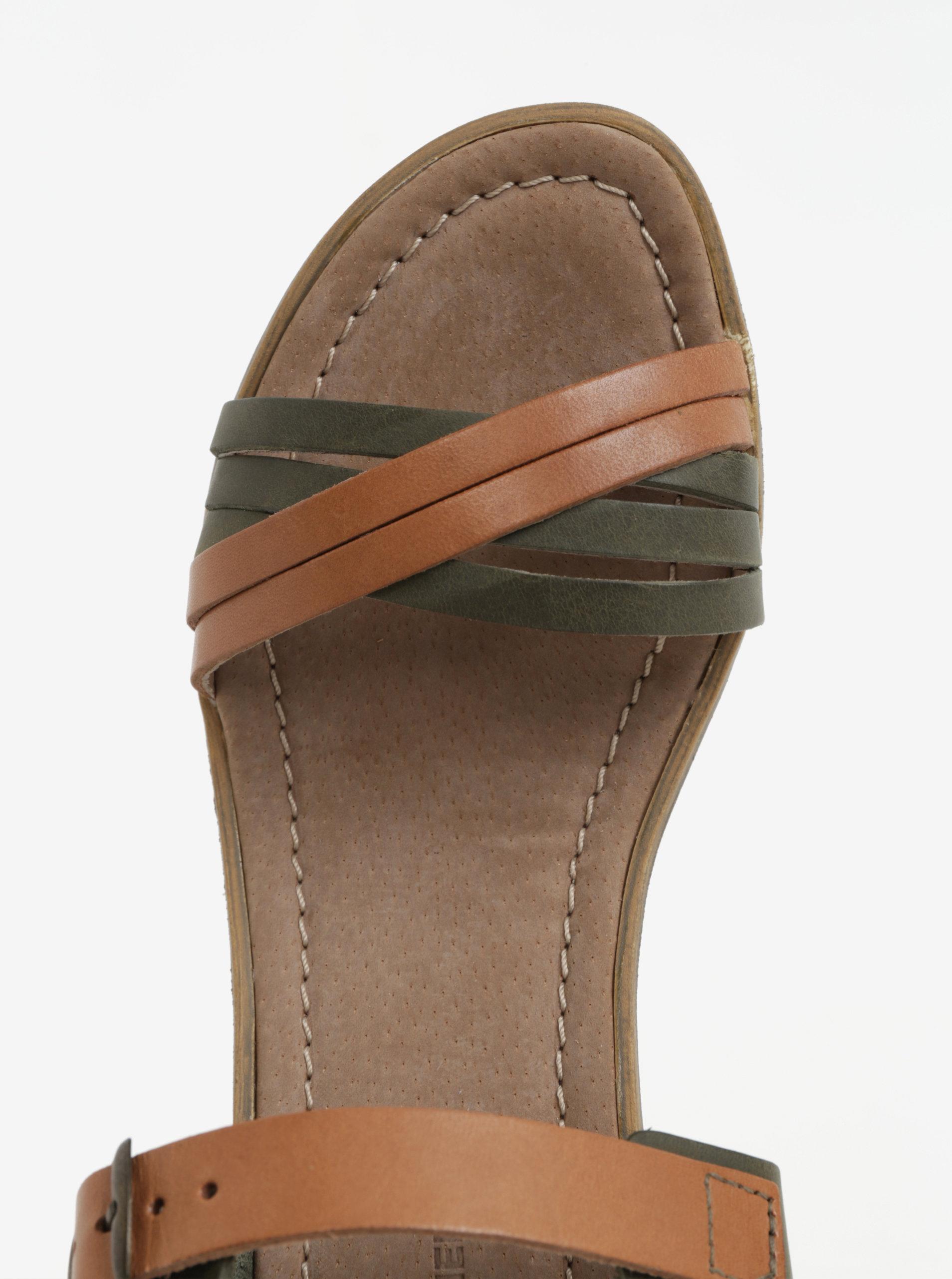 25d9937009 Hnědo-zelené dámské kožené sandálky na klínku Weinbrenner ...