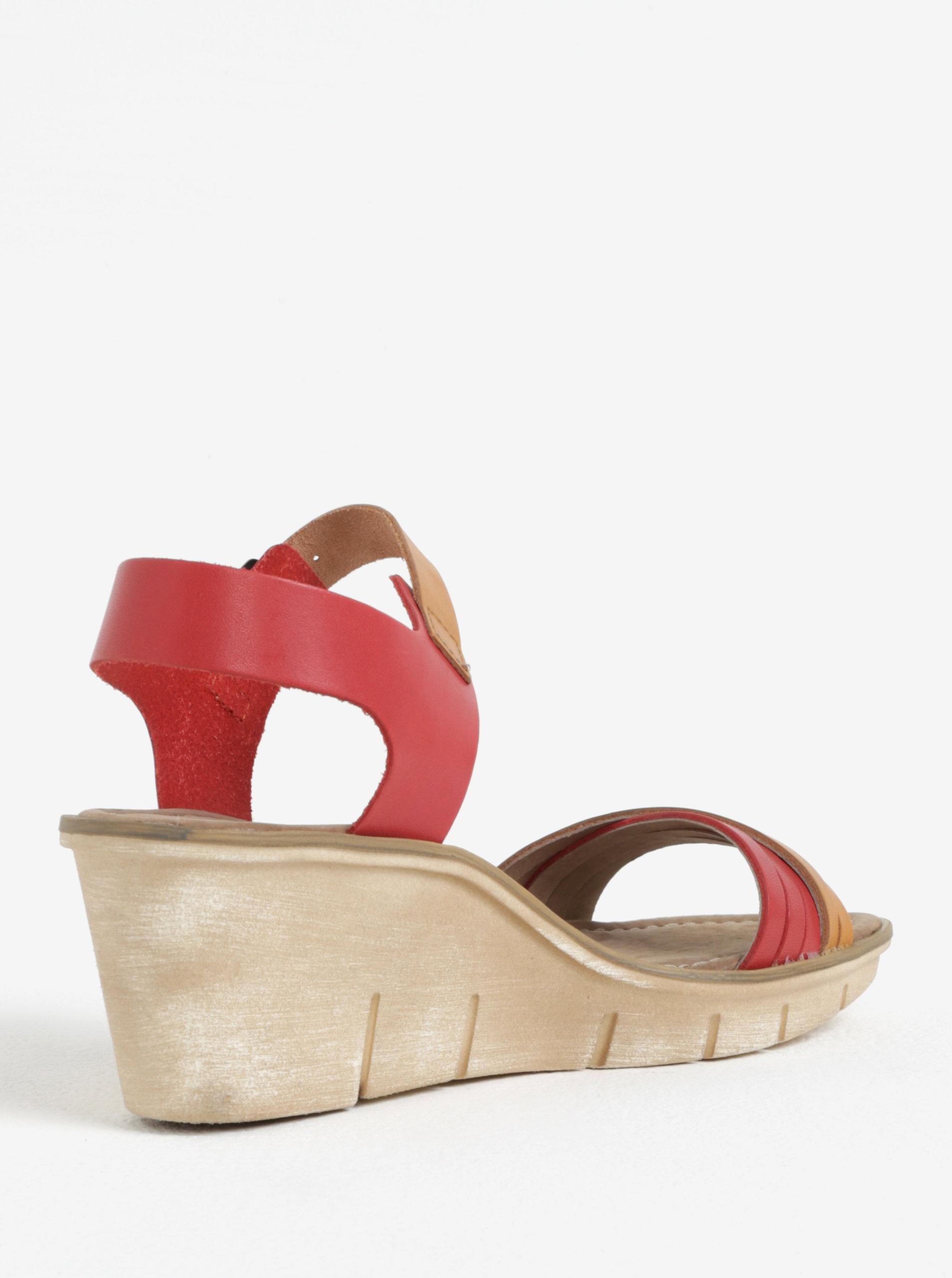 914d6262d7d7 Hnedo-červené dámske kožené sandálky na platforme Weinbrenner ...