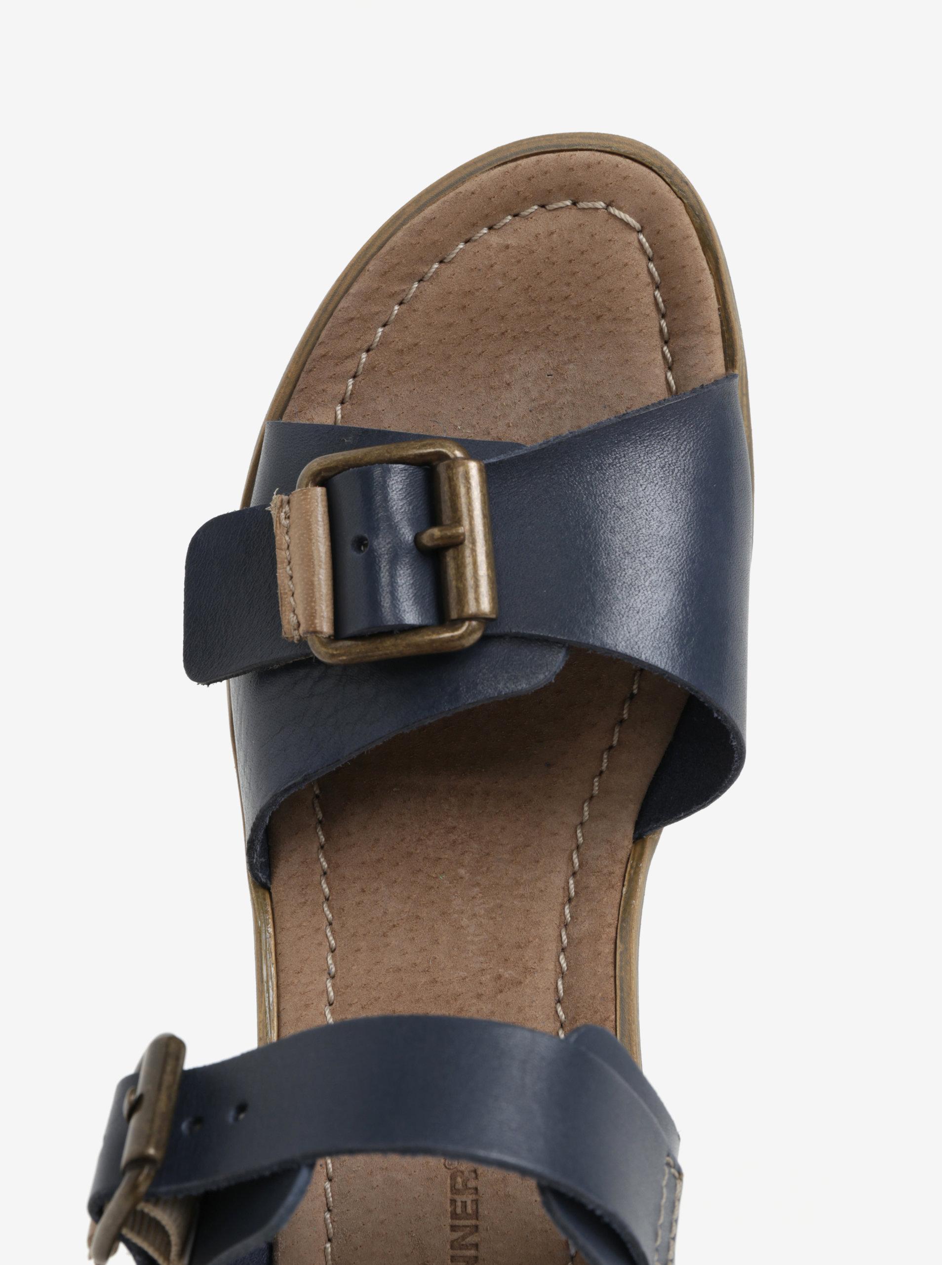bd19388449 Modré kožené sandálky na klínku Weinbrenner ...