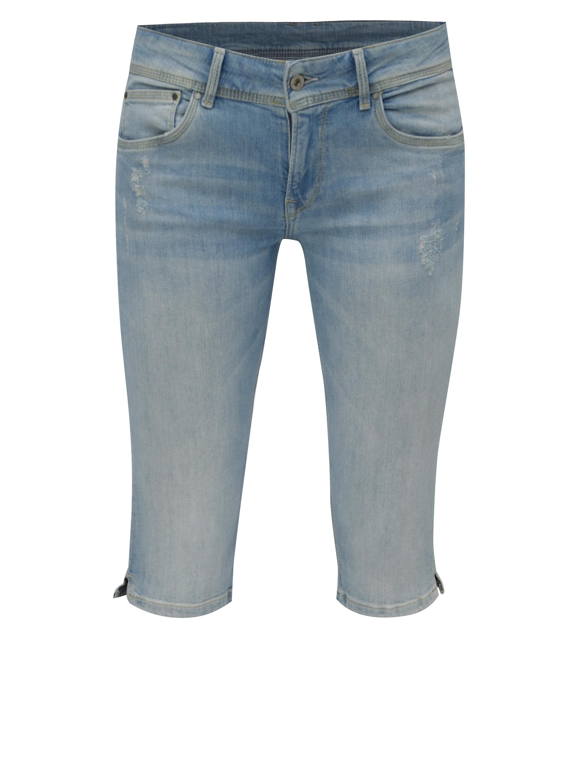 Modré dámské džínové straight kraťasy Pepe Jeans Saturn crop ... e165920e05