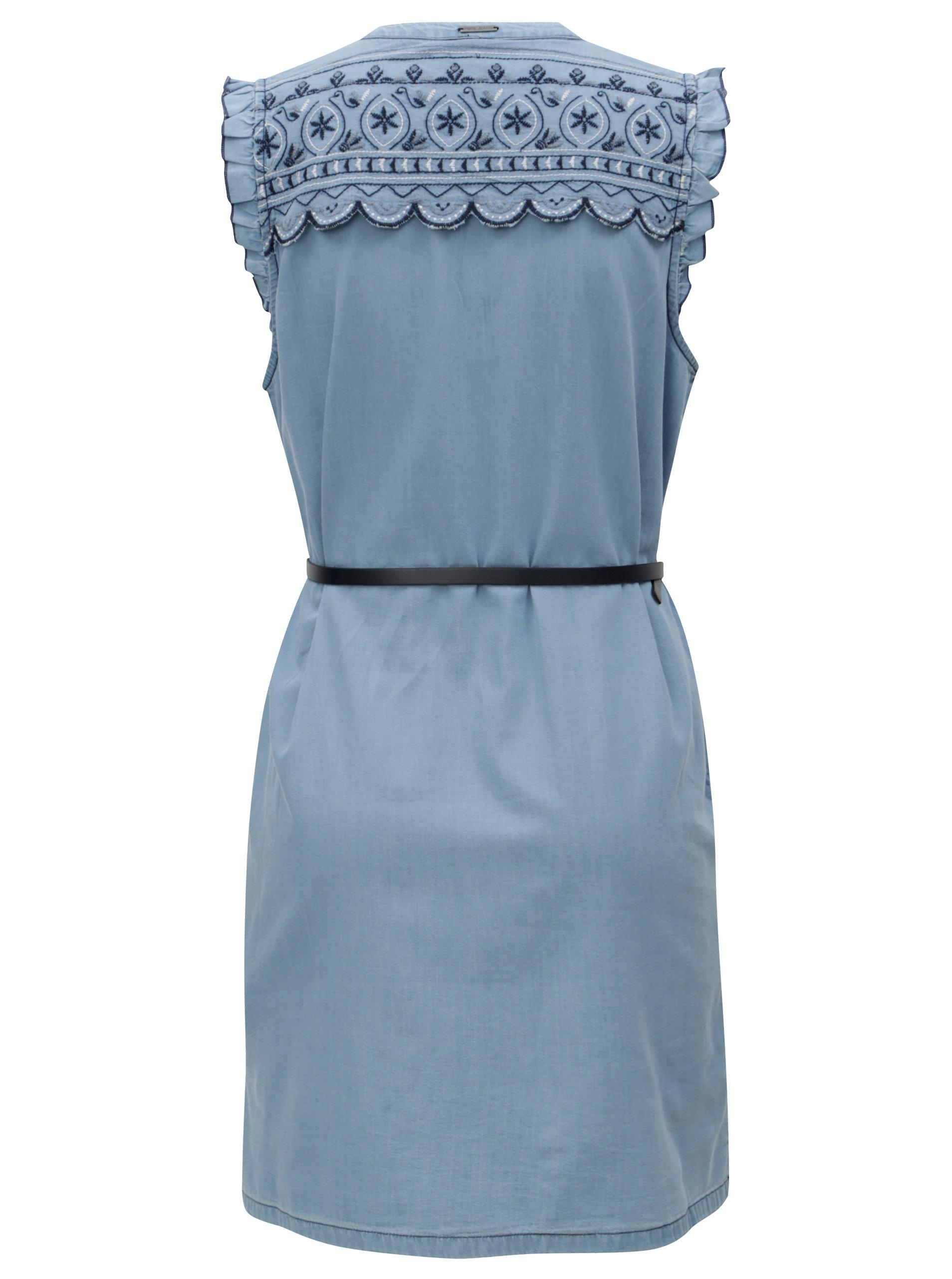3fe6d3cf28c Světle modré džínové šaty s výšivkou Pepe Jeans Lura ...