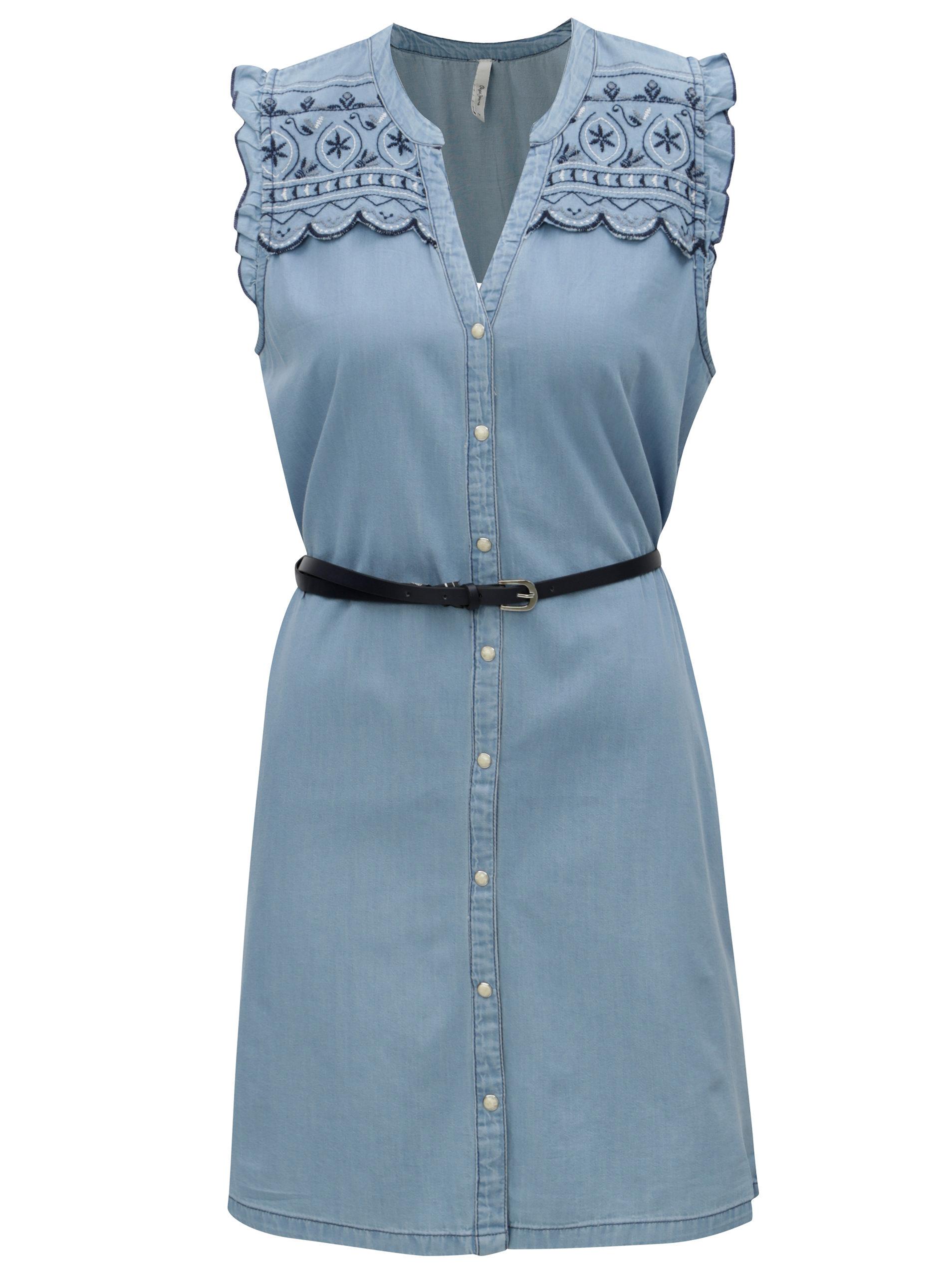 Světle modré džínové šaty s výšivkou Pepe Jeans Lura ... f442e1897c