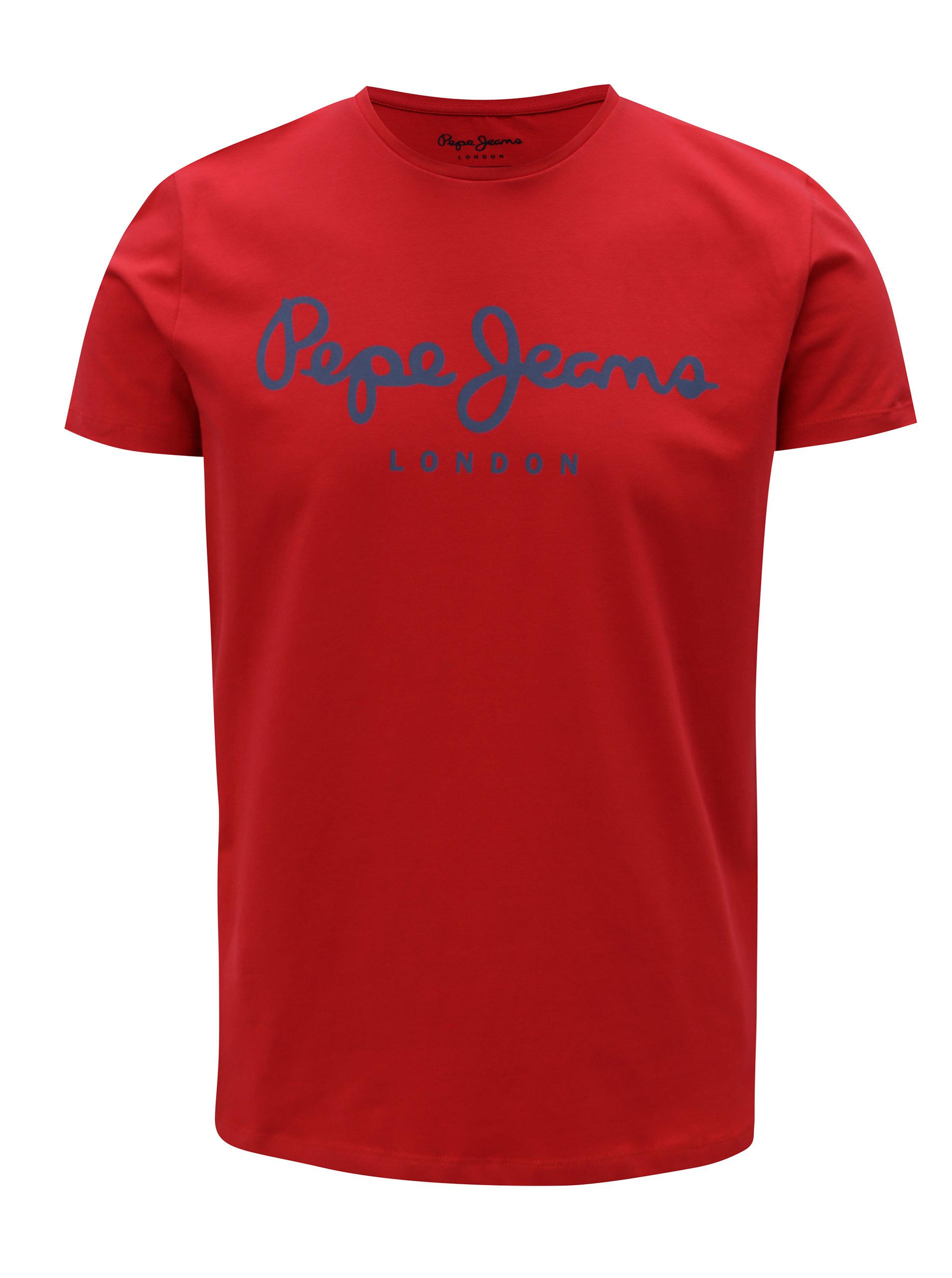 f9ba62da6bd Červené pánské slim tričko s potiskem Pepe Jeans Original stretch ...