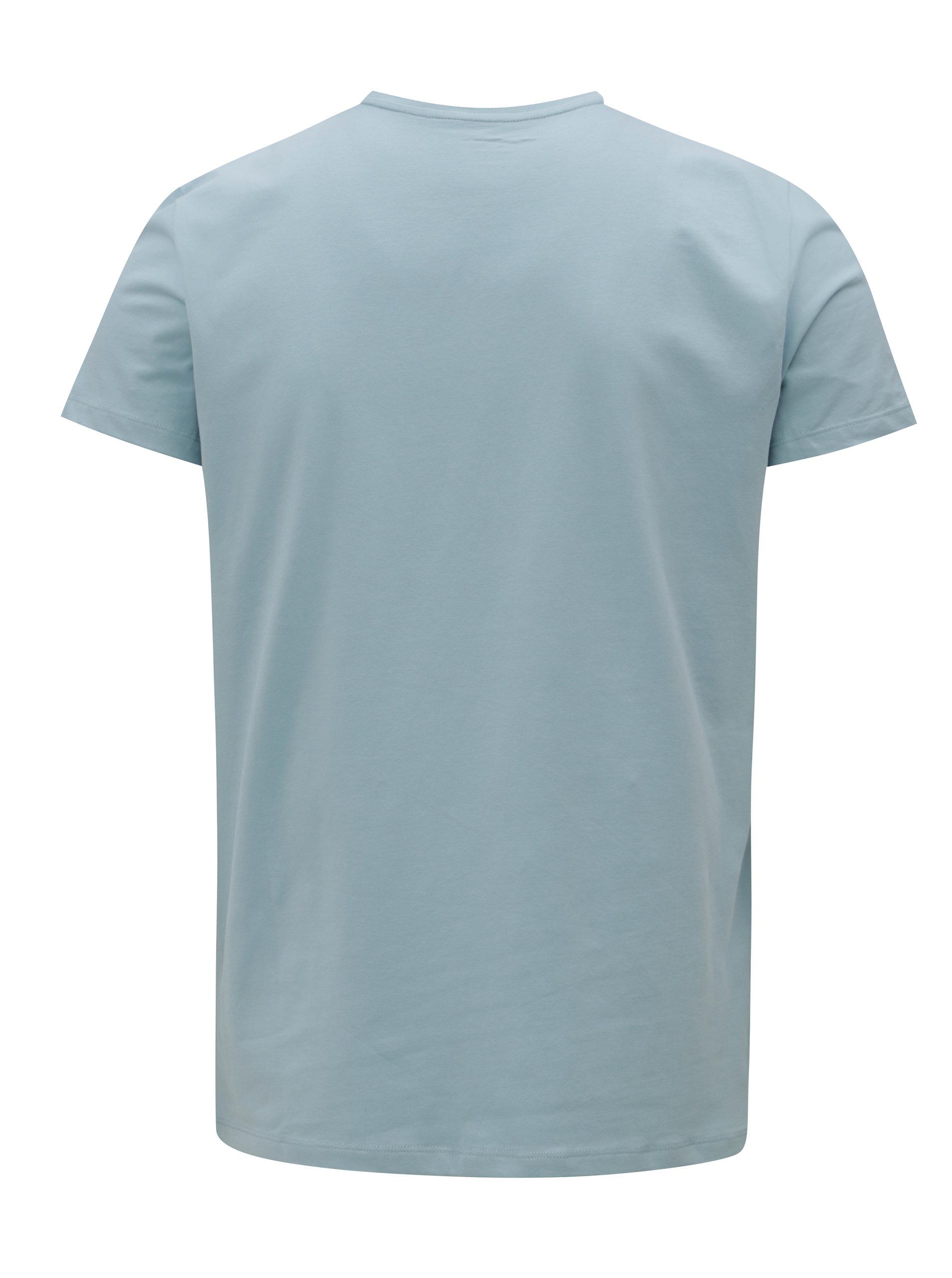Modré pánské slim tričko s potiskem Pepe Jeans Original stretch ... b59fc1fcbf