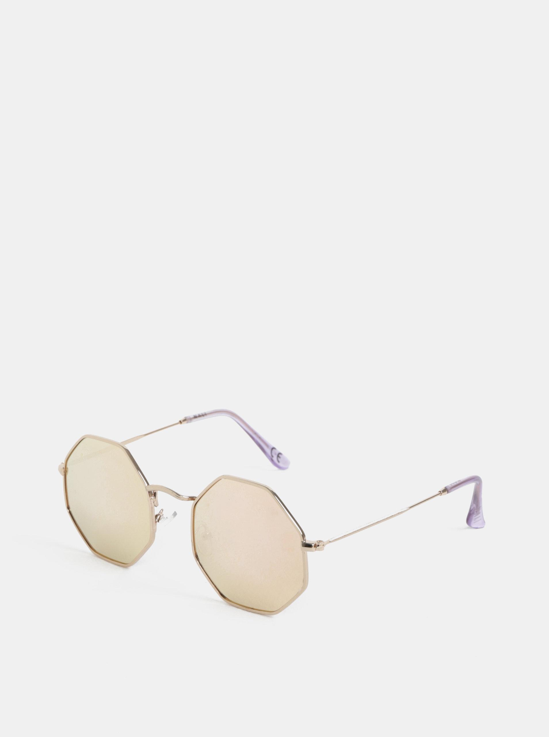 Hranaté sluneční brýle ve zlaté barvě Nalí