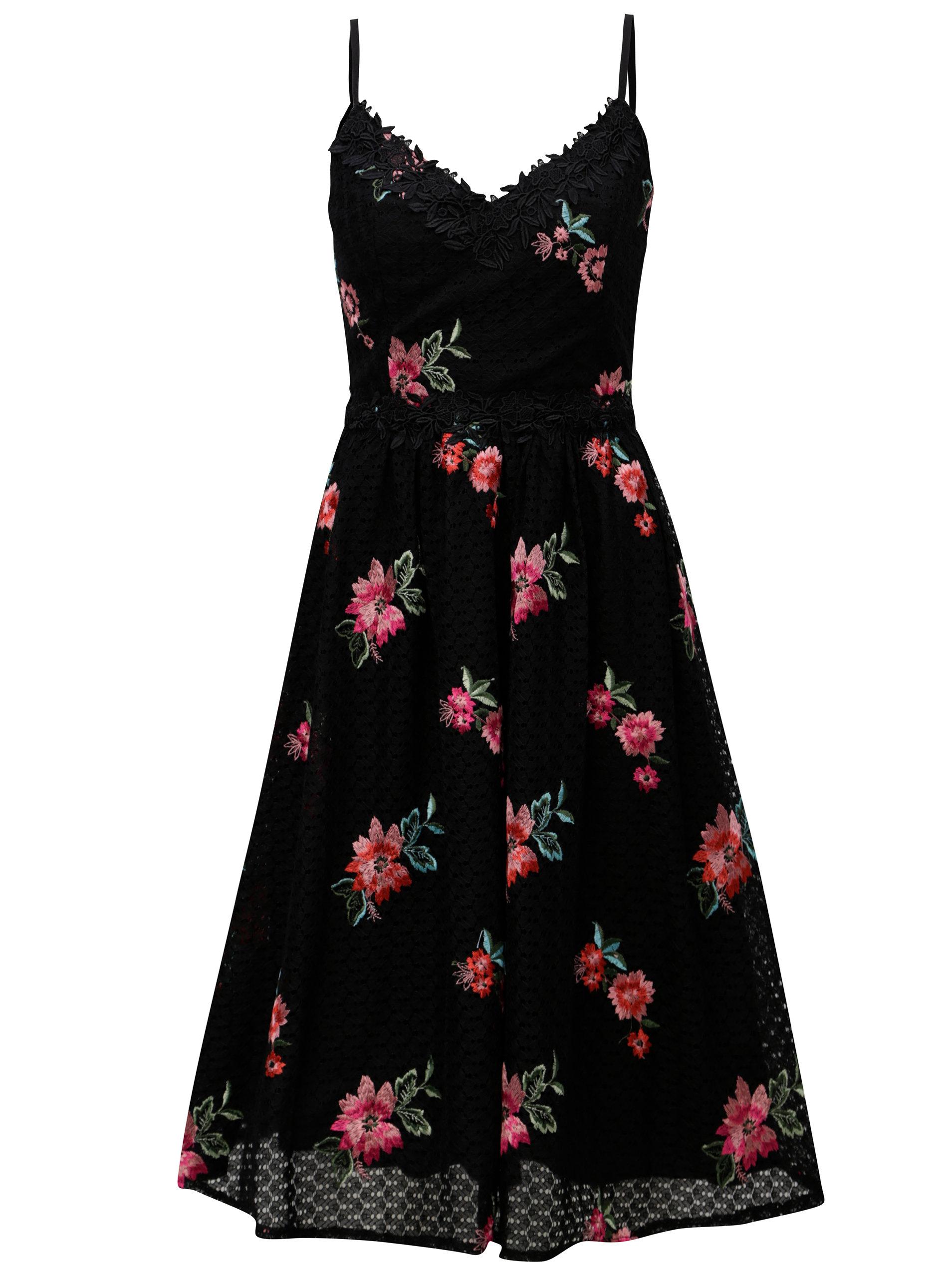 ae69a21e9705 Čierne čipkované šaty s výšivvkami Little Mistress ...