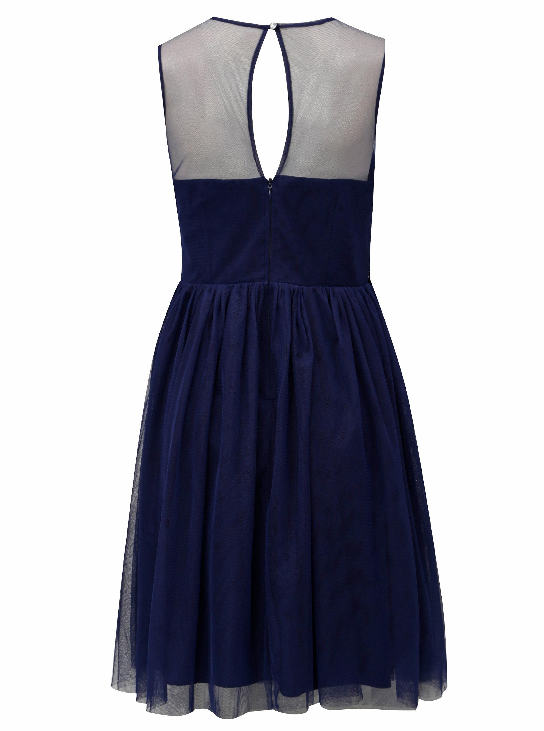 Tmavě modré šaty s tylovou sukní Little Mistress ... 90aa6a7679
