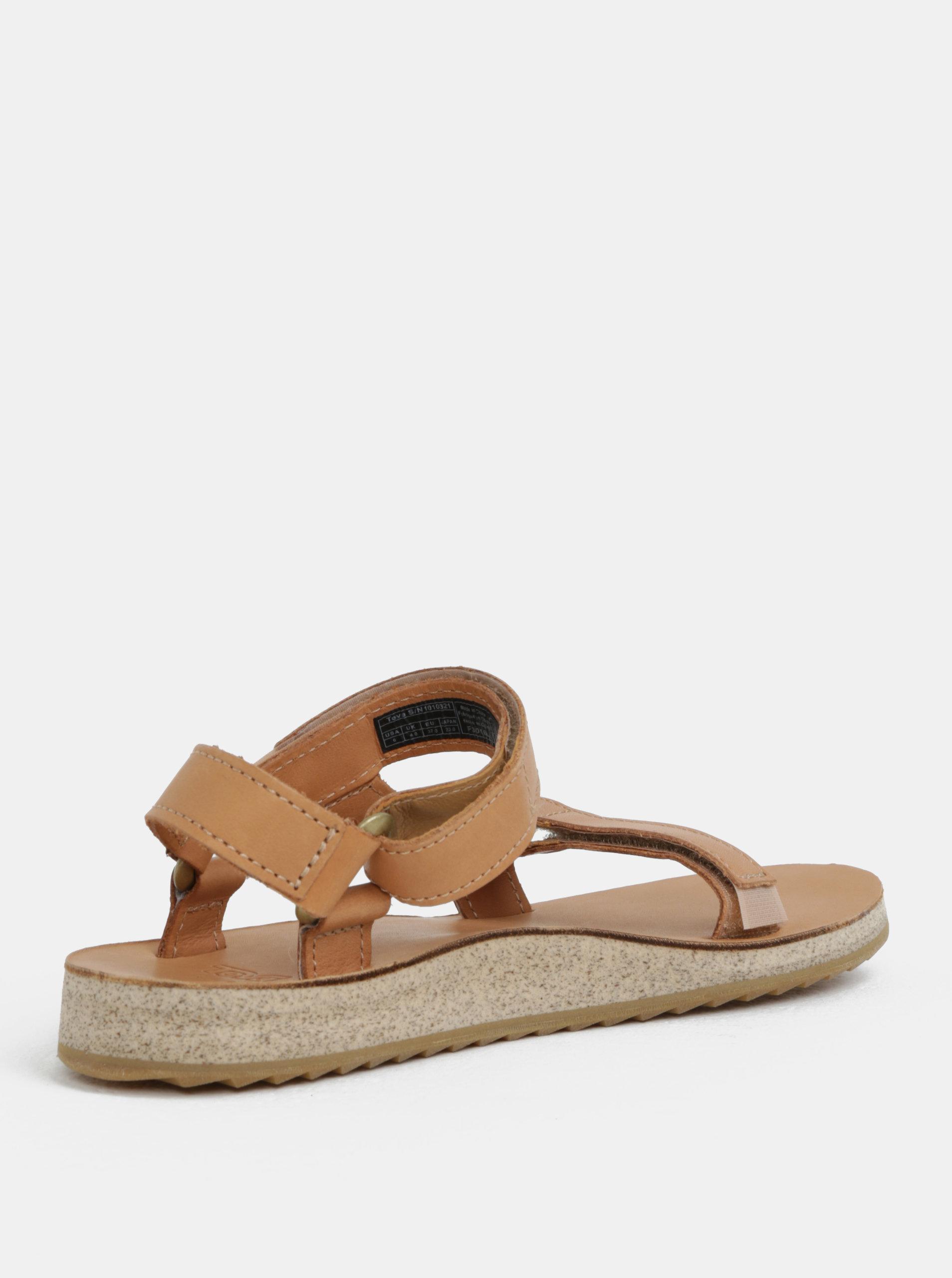 aa39fd1e6f10 Svetlohnedé dámske kožené sandále Teva ...