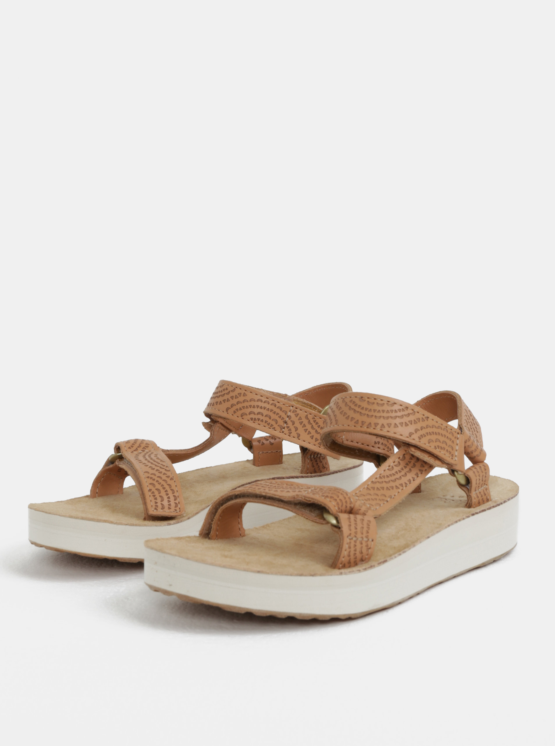 Světle hnědé dámské kožené vzorované sandály na platformě Teva ... add39bb834