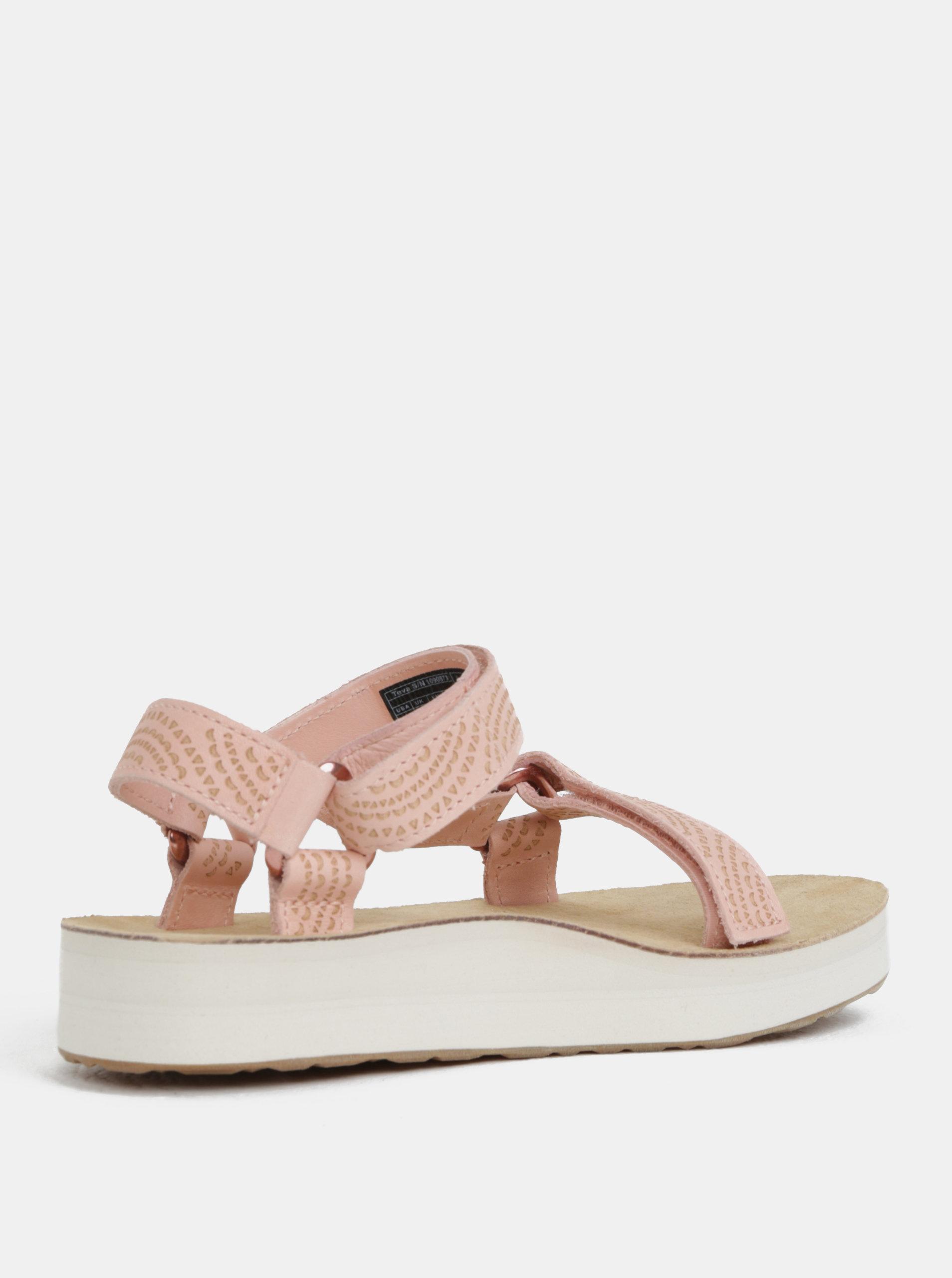 Světle růžové dámské kožené vzorované sandály na platformě Teva ... b614b83200