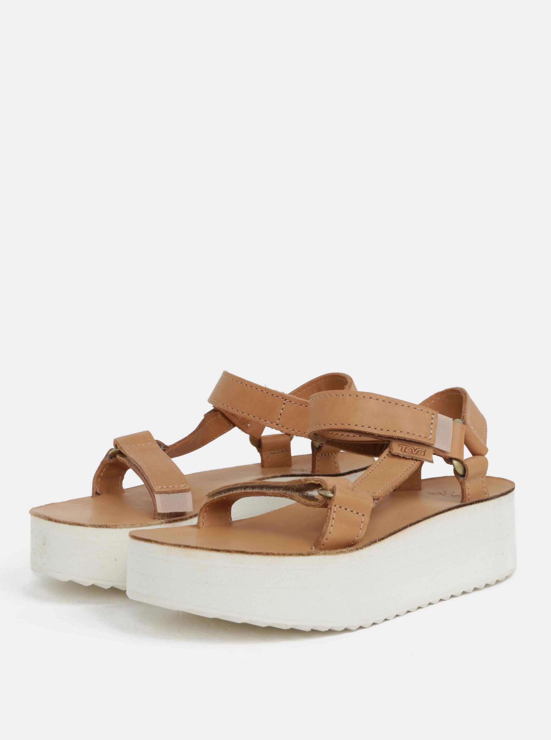 36ecbd851d3e Svetlohnedé dámske kožené sandále na platforme Teva ...