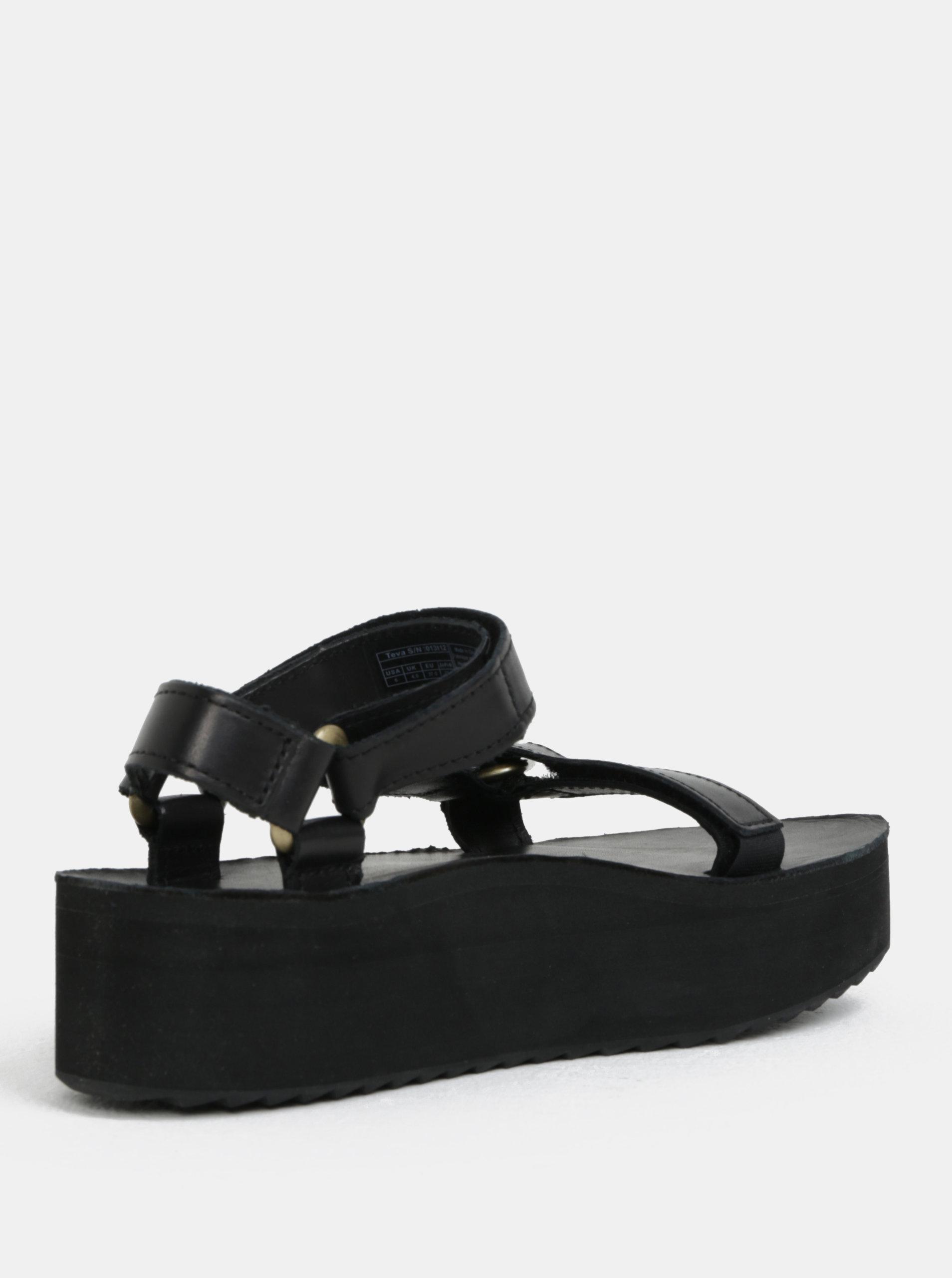 Černé dámské kožené sandály na platformě Teva - Akční cena ... 2ba8f97eaf