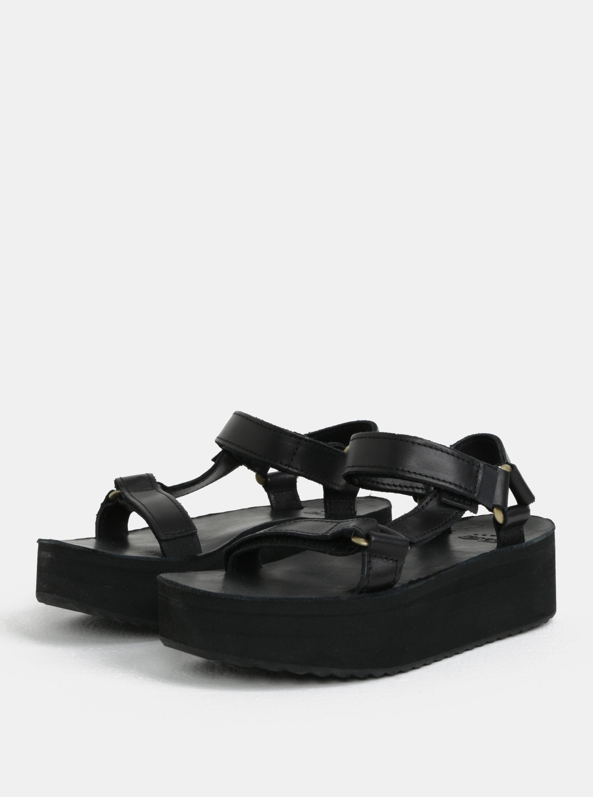 387bba9e3e05 Čierne dámske kožené sandále na platforme Teva ...