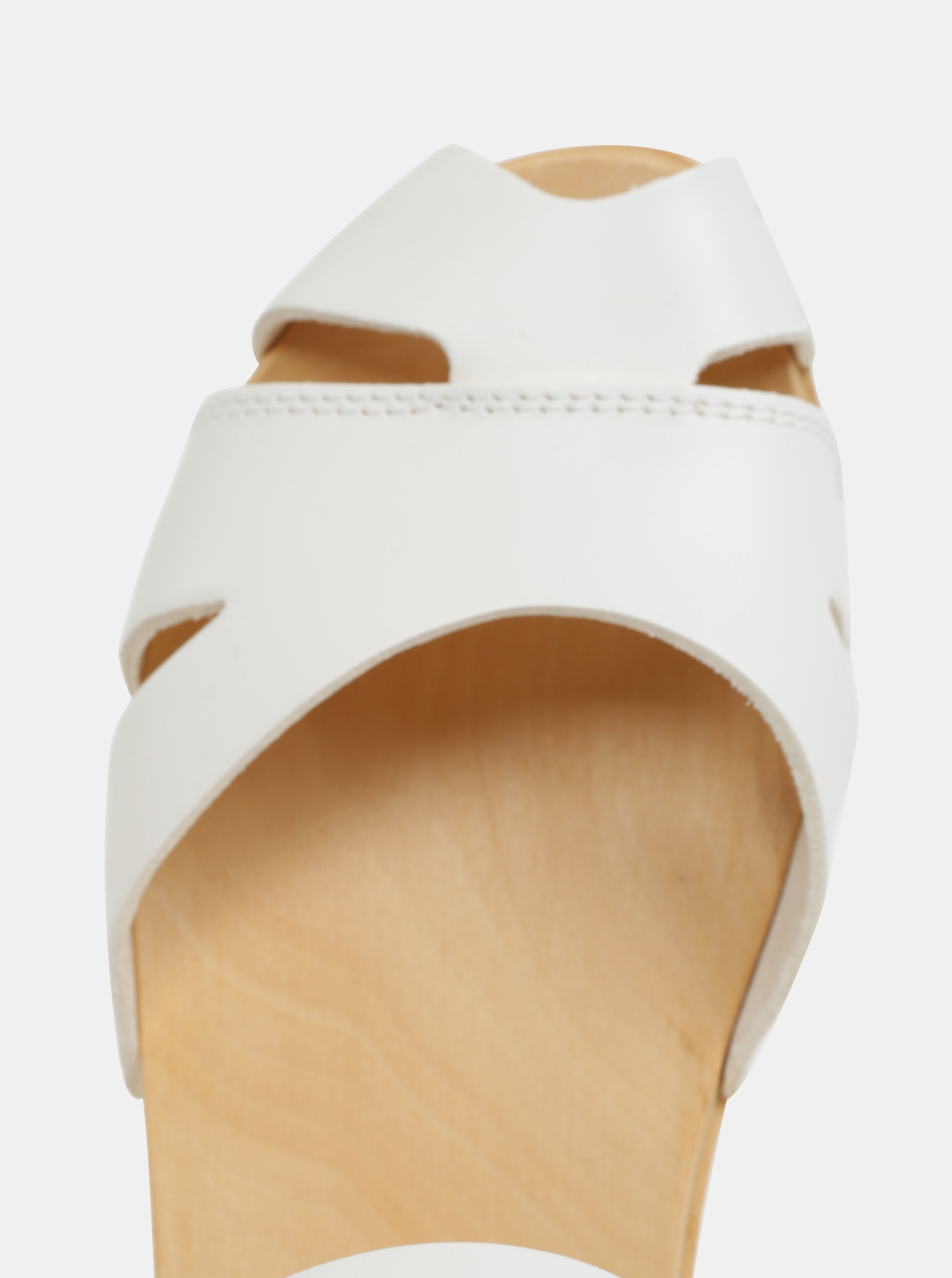 31e7b201c19 Dřeváky na podpatku s bílými koženými pásky Swedish Hasbeens Suzanne ...
