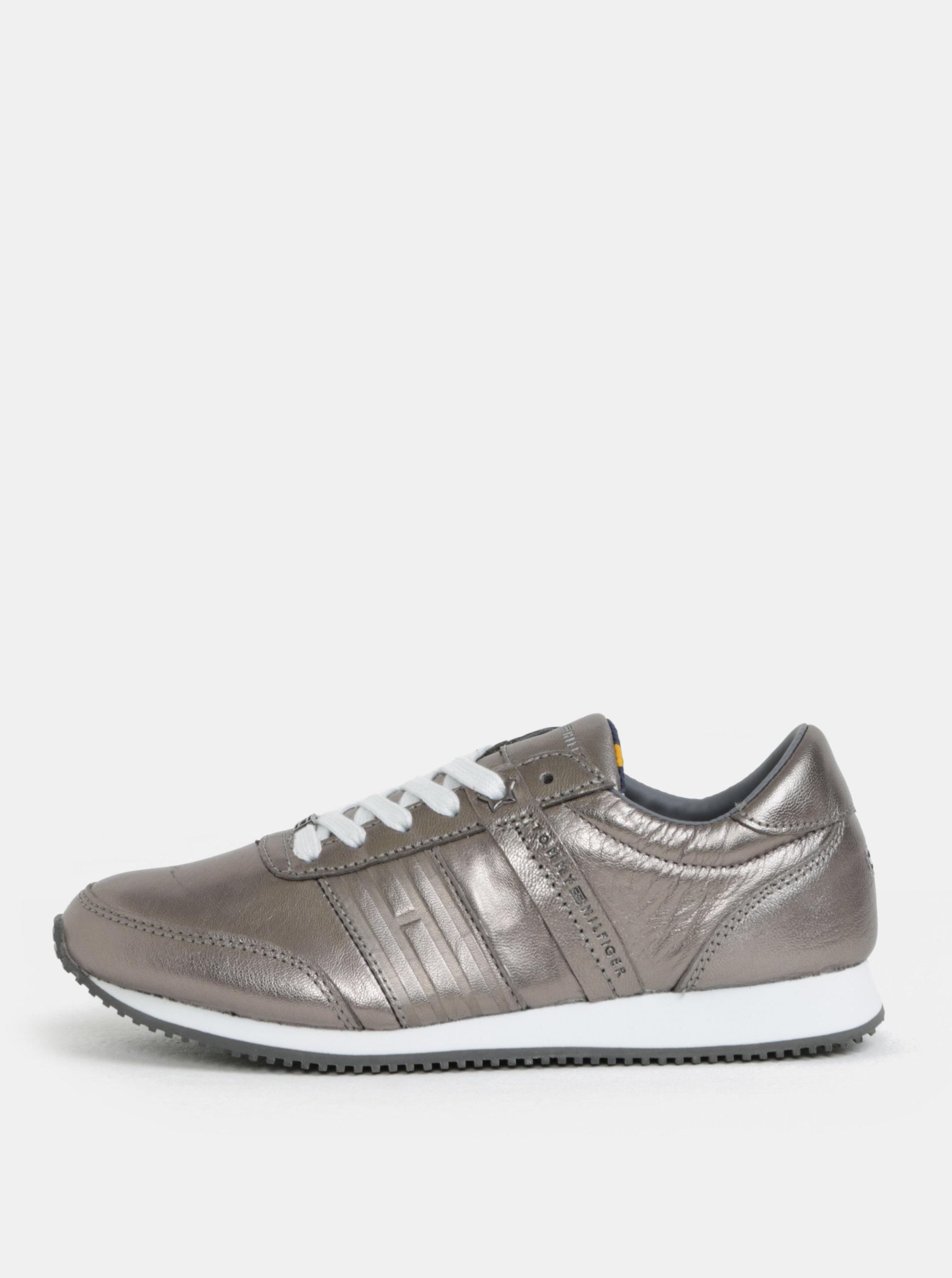 0279745cd0f Dámské kožené tenisky ve stříbrné barvě Tommy Hilfiger ...