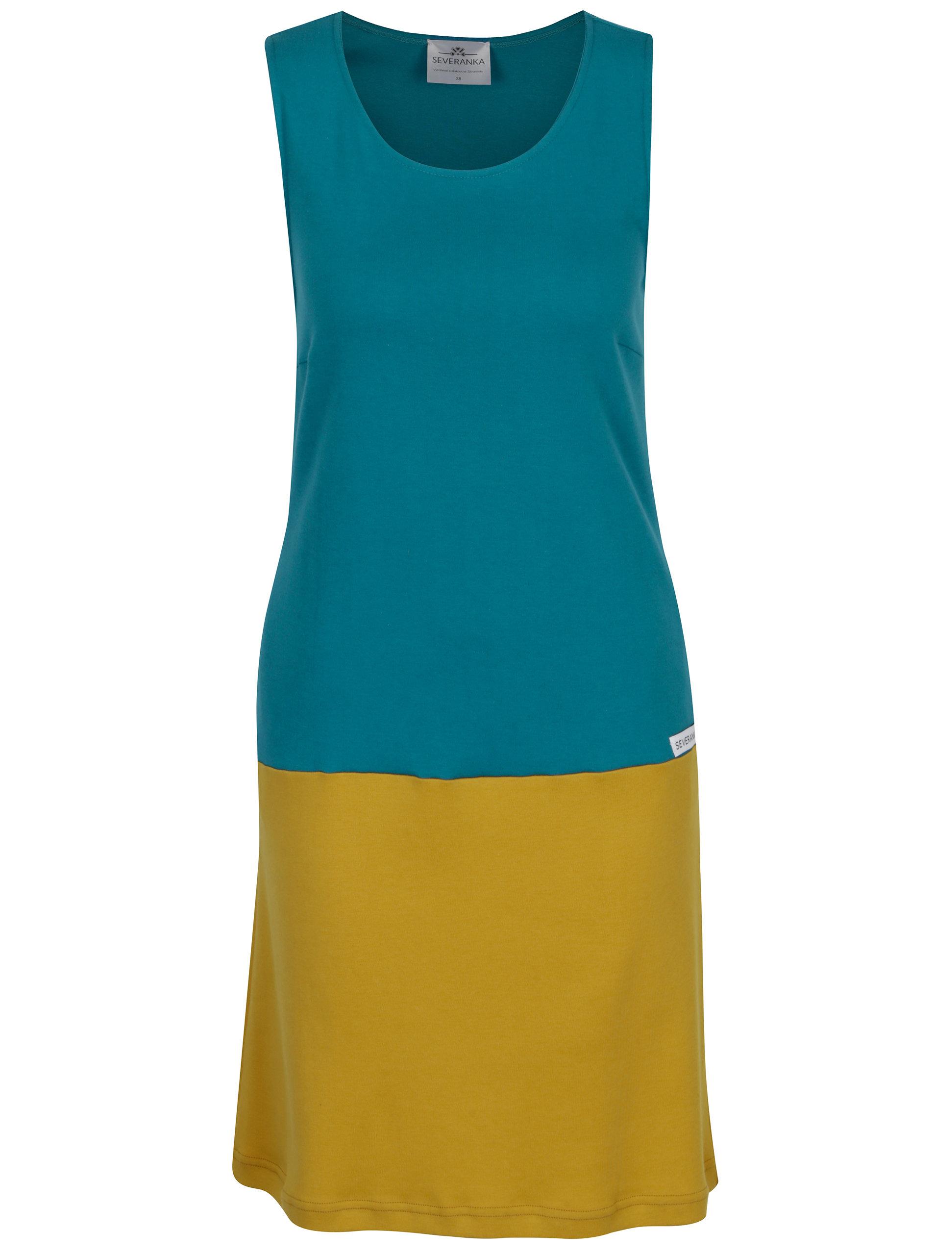 9f099042f73 Tyrkysovo-hořčicové šaty SEVERANKA ...