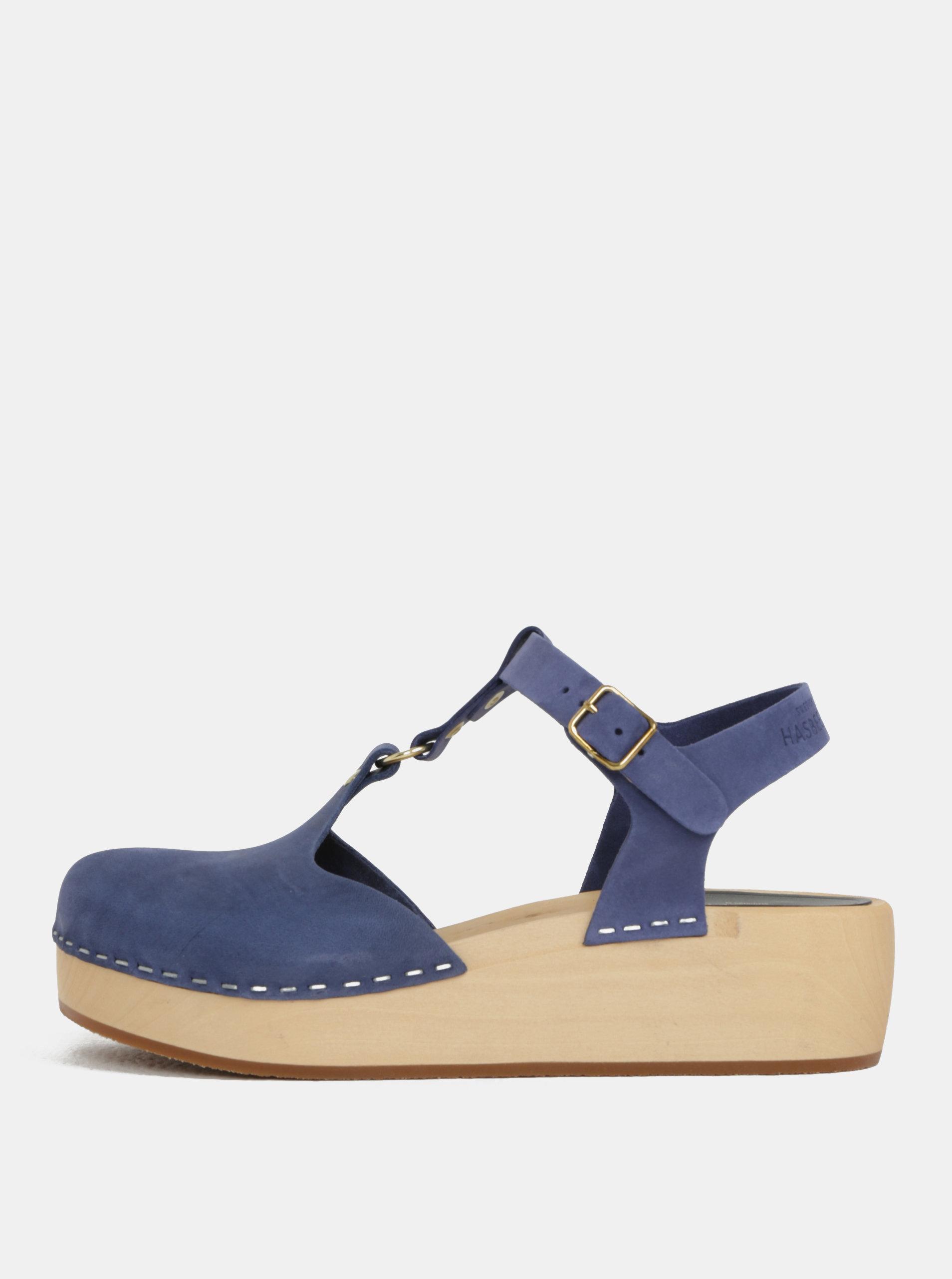 8b832a0ef7c6f Dreváky na platforme s modrými koženými remienkami Swedish Hasbeens Ring  Sandal ...