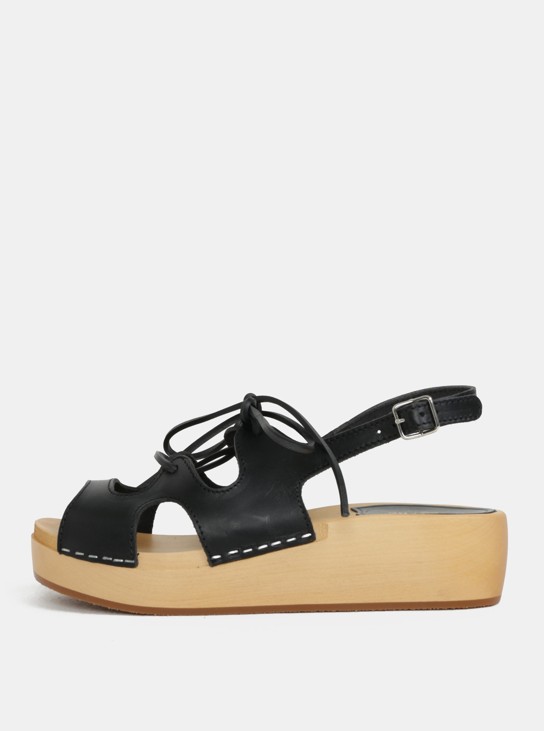 8020013b13a07 Dreváky na platforme s čiernymi koženými remienkami Swedish Hasbeens Lace  Up Sandal ...