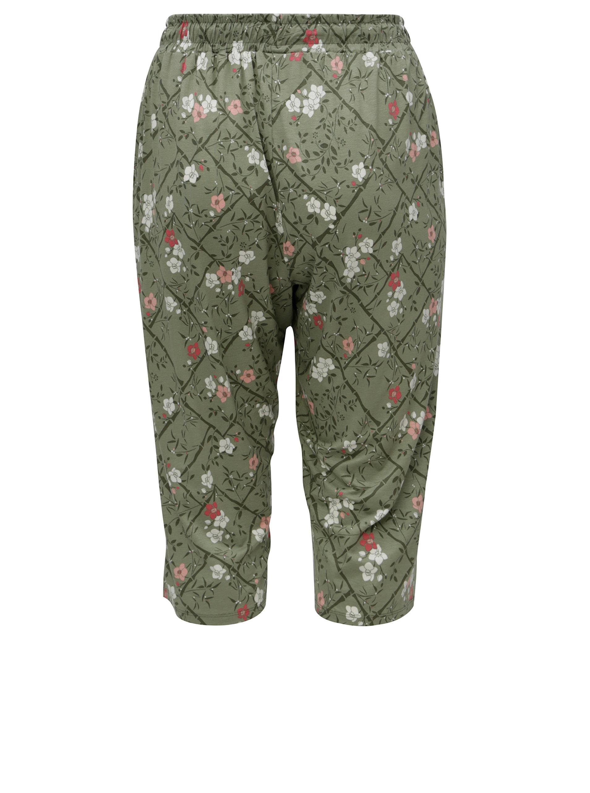 5dbd6948f132 Zelené kvetované skrátené dámske nohavice s elastickým pásom M Co ...