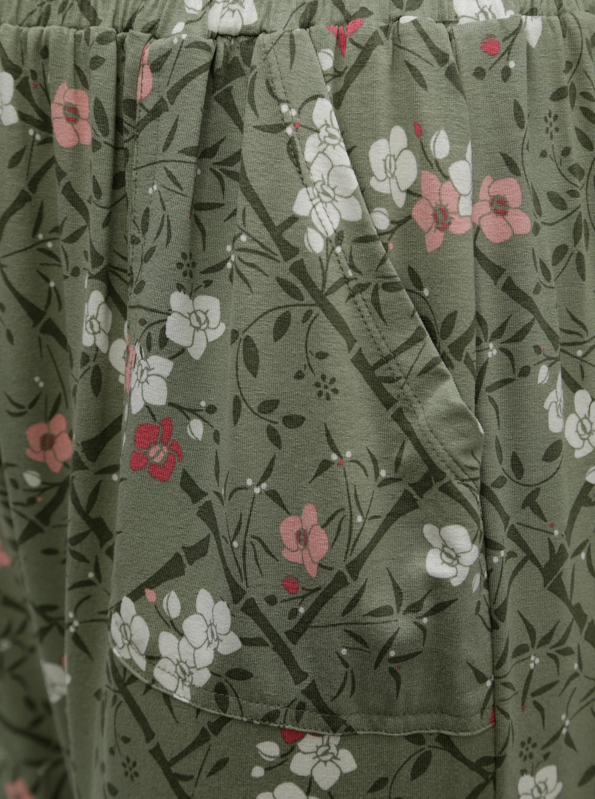bfc63ce101cb Zelené kvetované skrátené dámske nohavice s elastickým pásom M Co ...