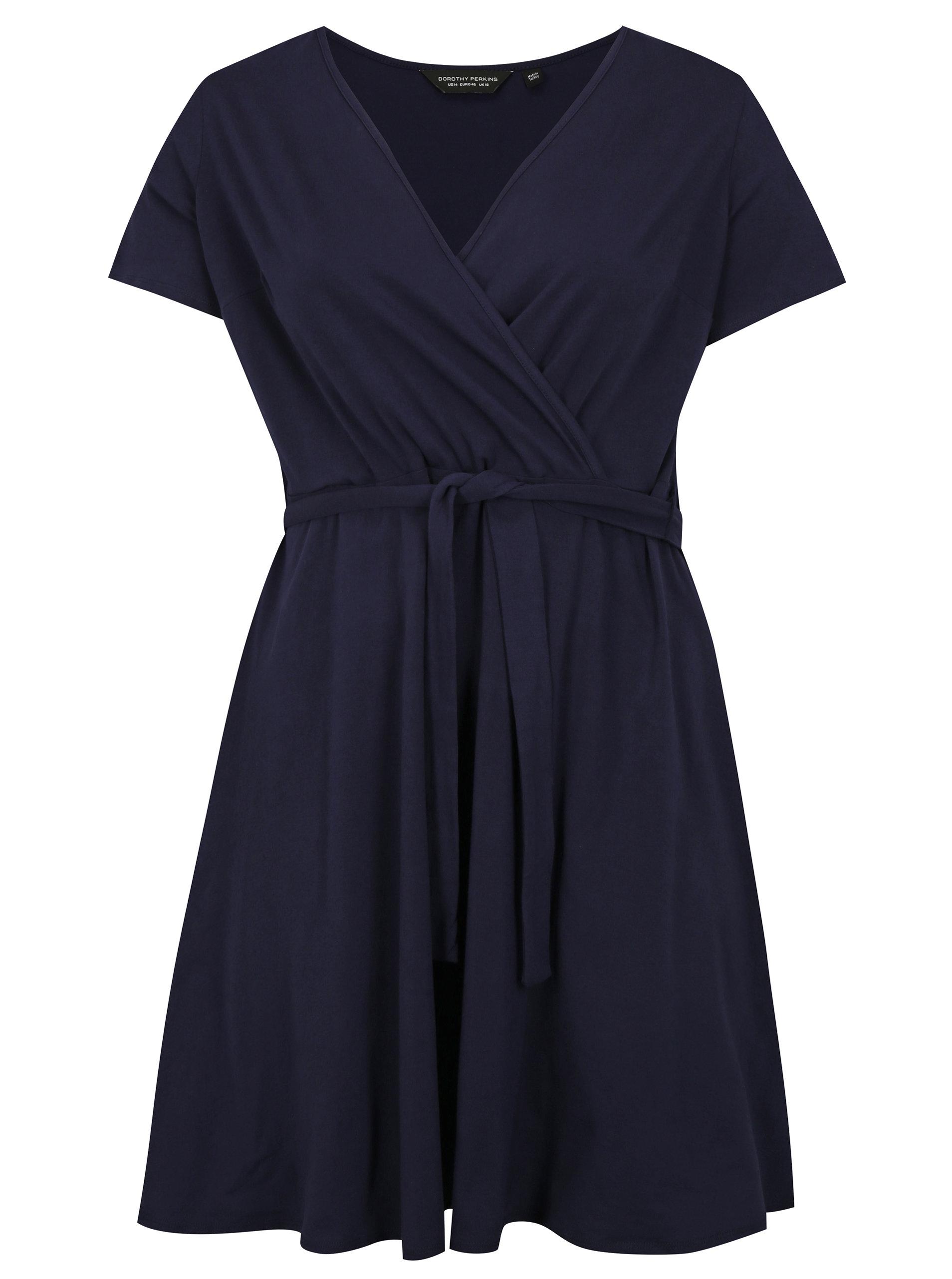Tmavomodré šaty s prekladaným výstrihom Dorothy Perkins Curve ... 2ea5936a88f