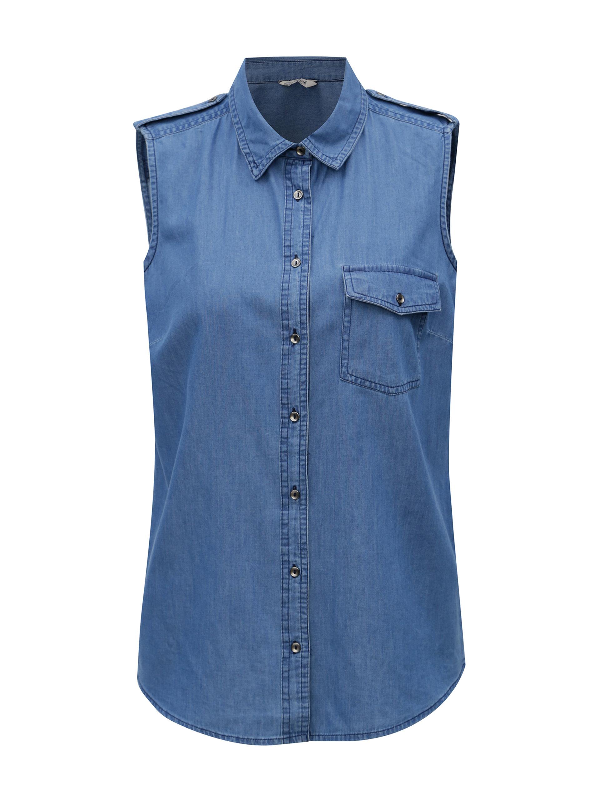 56b237d64eb Modrá dámská džínová košile bez rukávů M Co ...
