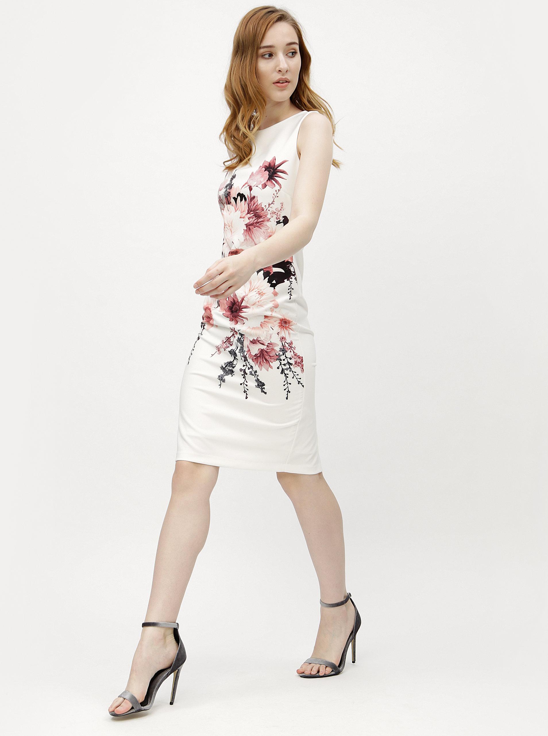 Krémové květované pouzdrové šaty M Co ... ee2b18d91b