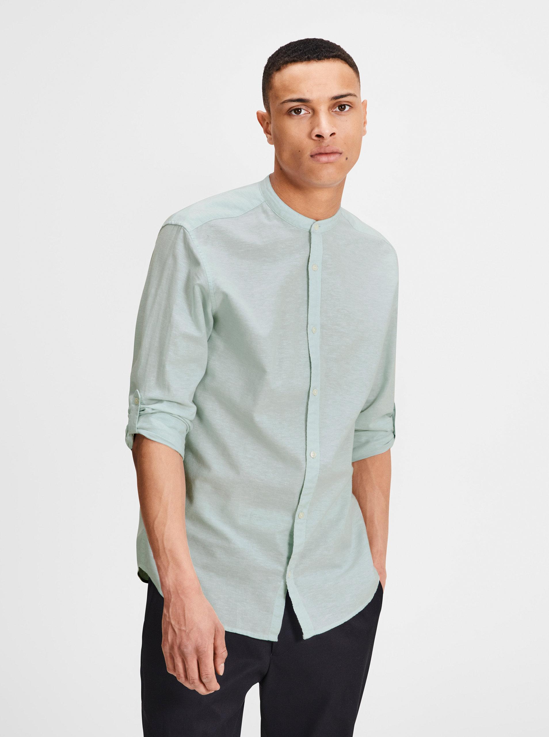 e4c89ab95398 Svetlozelená melírovaná slim fit košeľa s prímesou ľanu Jack   Jones  Premium Summer ...