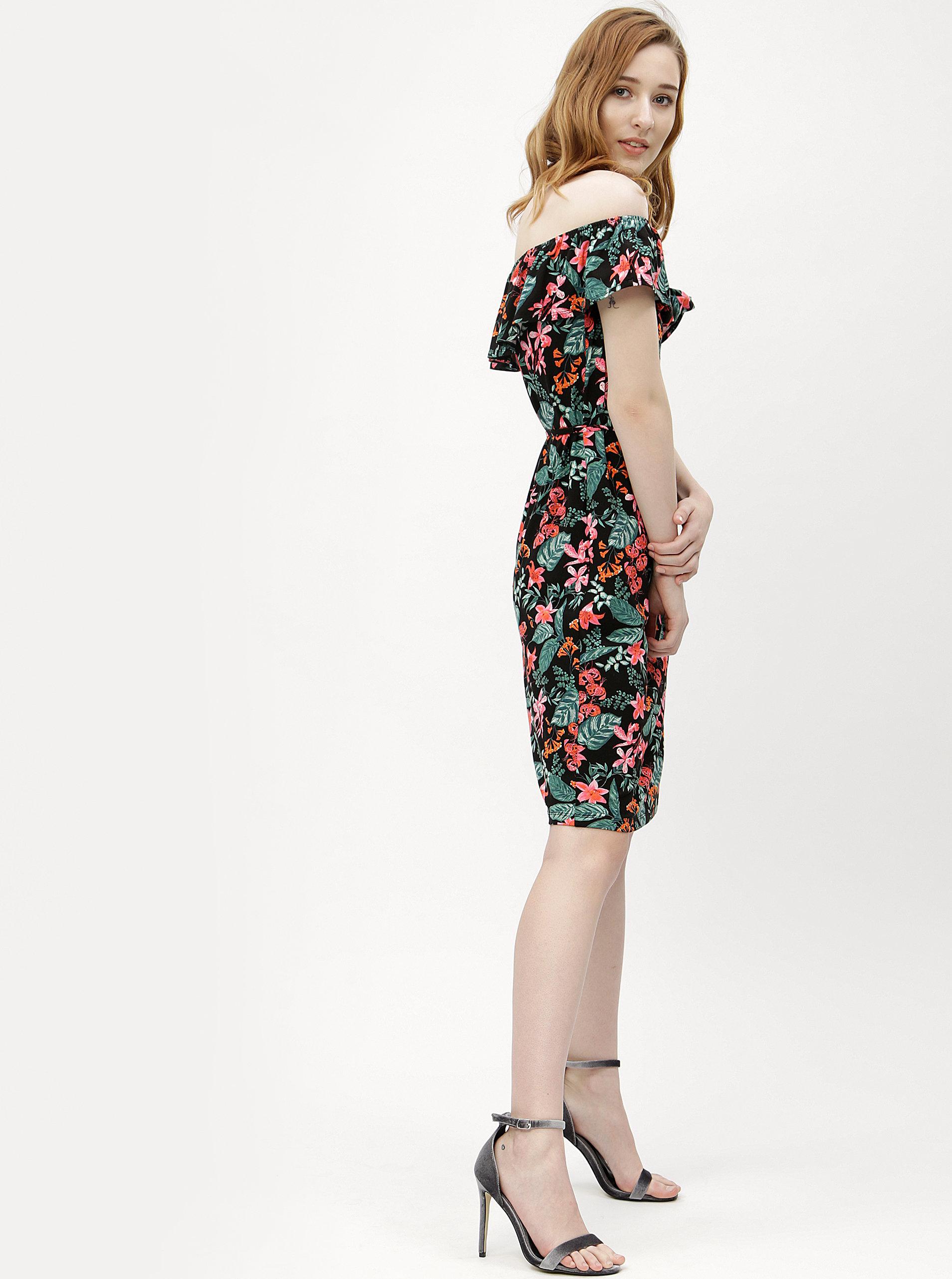 Čierne kvetované šaty s volánom a odhalenými ramenami M Co ... 0ff6fa8807a