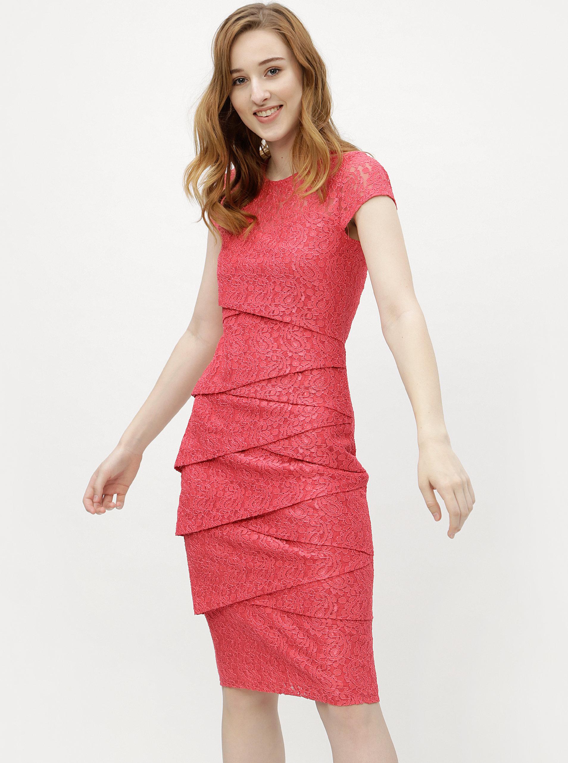 Koralové čipkované puzdrové šaty M Co ... 61097435f42